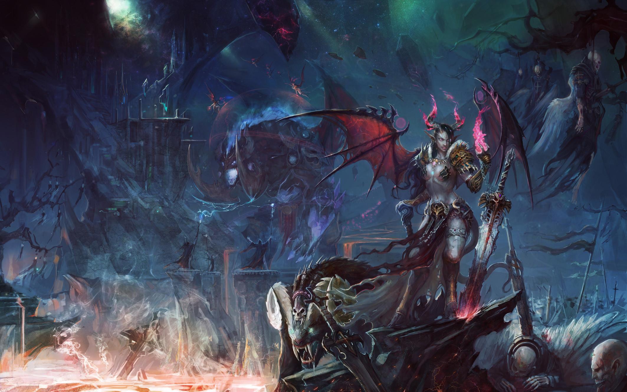 Wallpapers World of WarCraft Wallpapers World of WarCraft ( WoW ) Demons  Warriors Swords Games