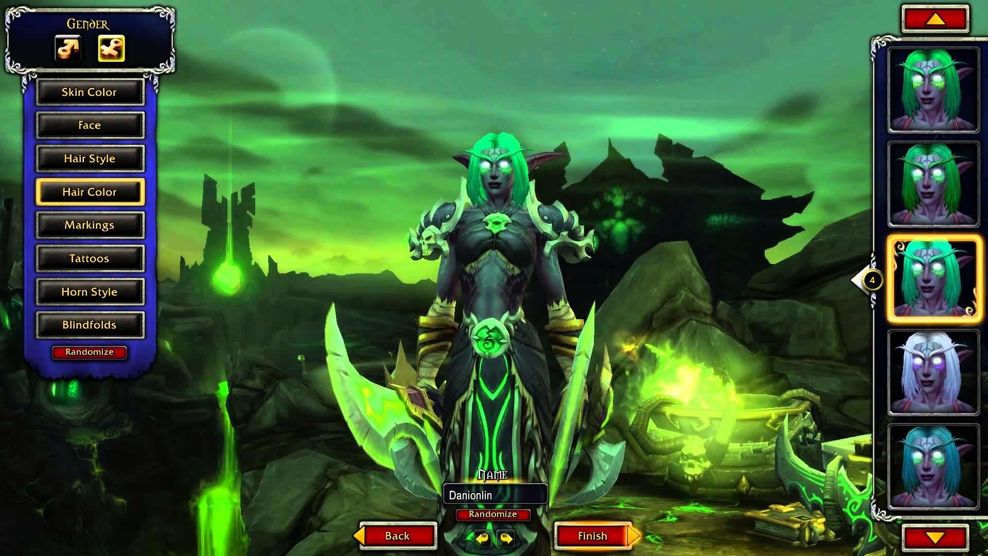 World of Warcraft Legion – Night Elf Female Demon hunter customizations –  YouTube