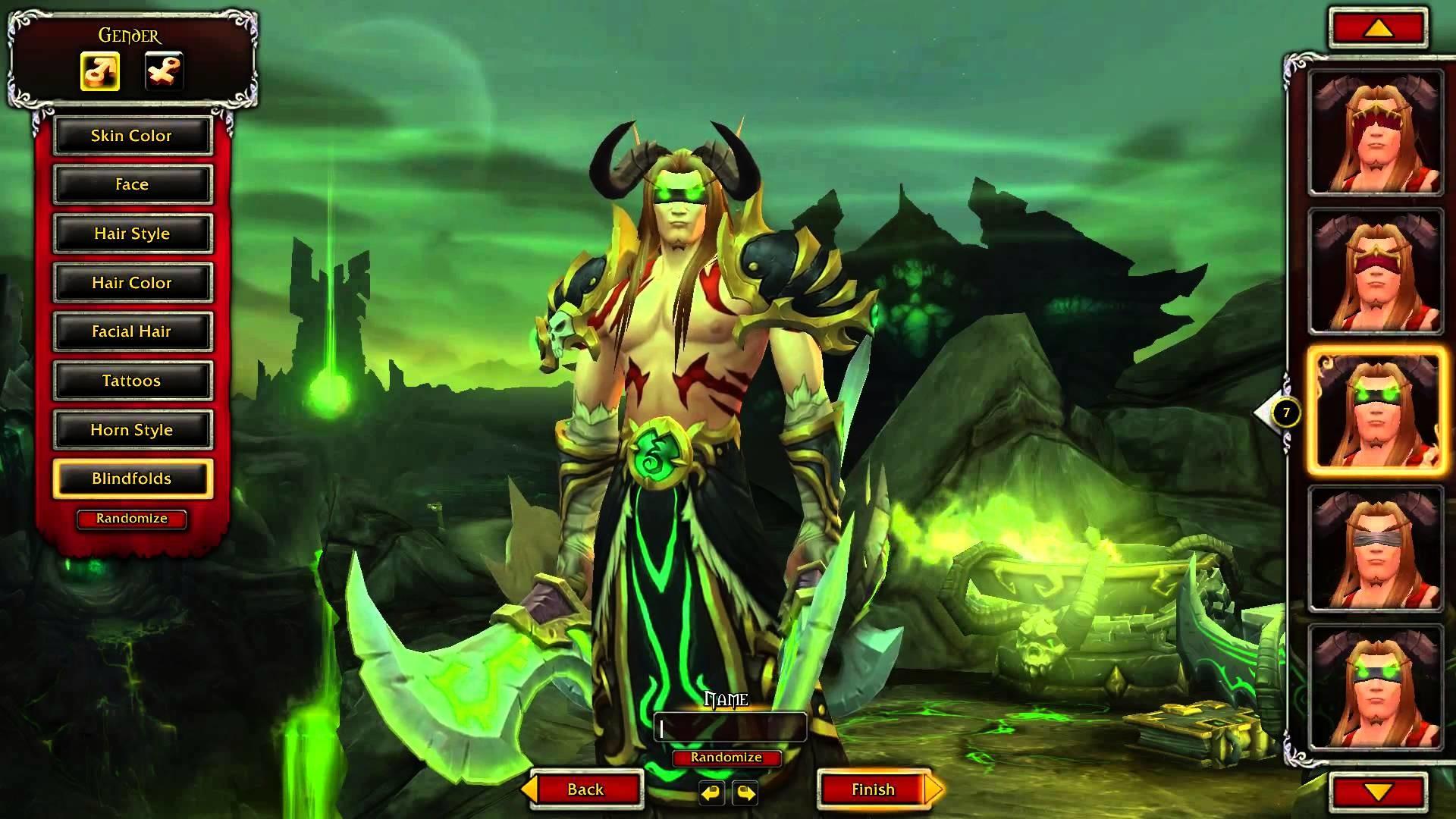 Blood Elf Demon Hunter character creation   World of Warcraft: Legion –  YouTube