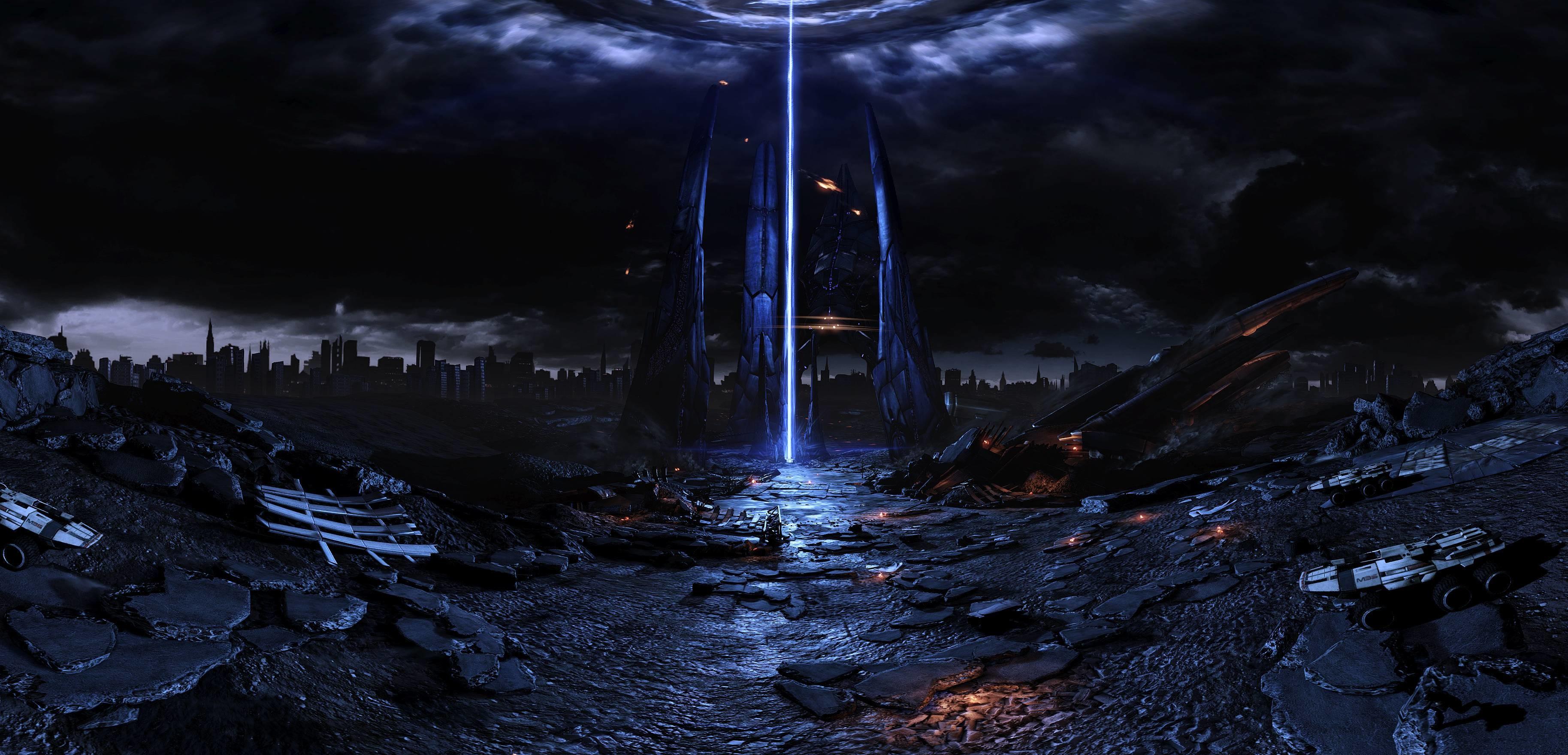 Mass effect fan reaper harbinger art pano spaceship sci-fi .