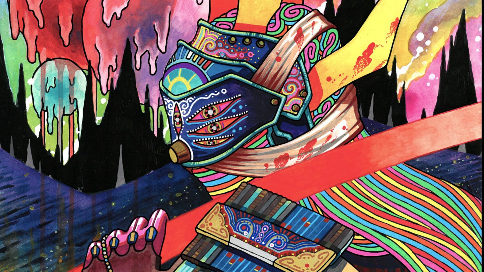 """Wallpaper I cropped from a painting called """"Ronin 2"""" by artist """"El Huervo""""  (Niklas Åkerblad) of """"Hotline Miami"""" fame [1920×1080] …"""