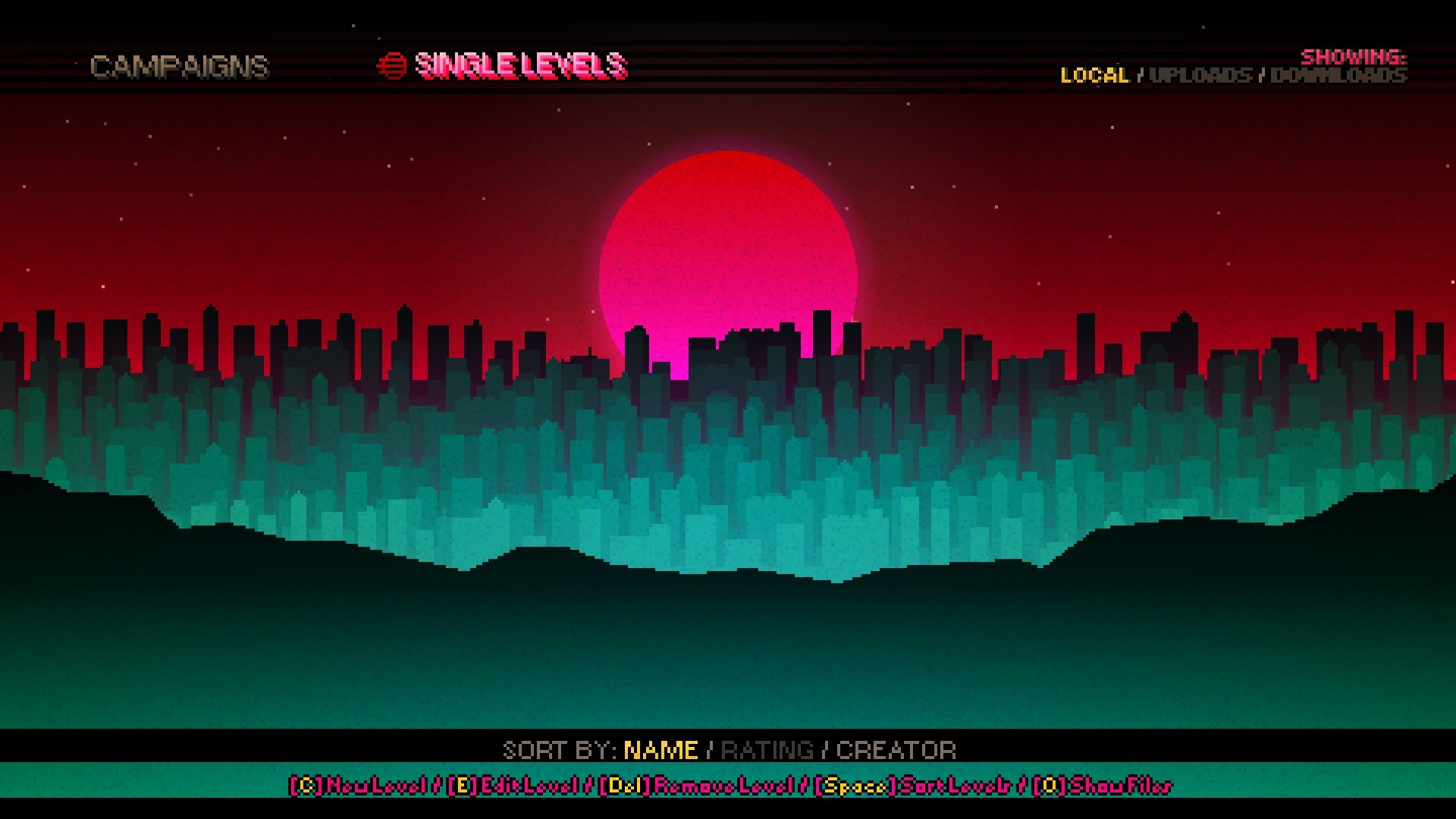 The Starry Sky selection screen of the editor. The blue lit buildings of  the Miami skyline ebb and flow like waves.