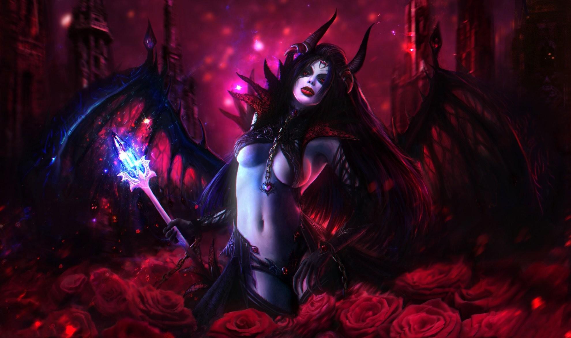 DOTA 2 Queen of Pain Demon Roses Mage Staff Games Girls Fantasy dark  vampire sexy artwork