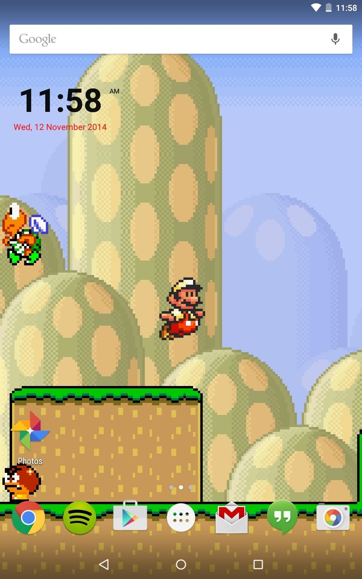 While this live wallpaper would be much cooler if it were actually  playable, it's still much better than staring at static image of Mario.