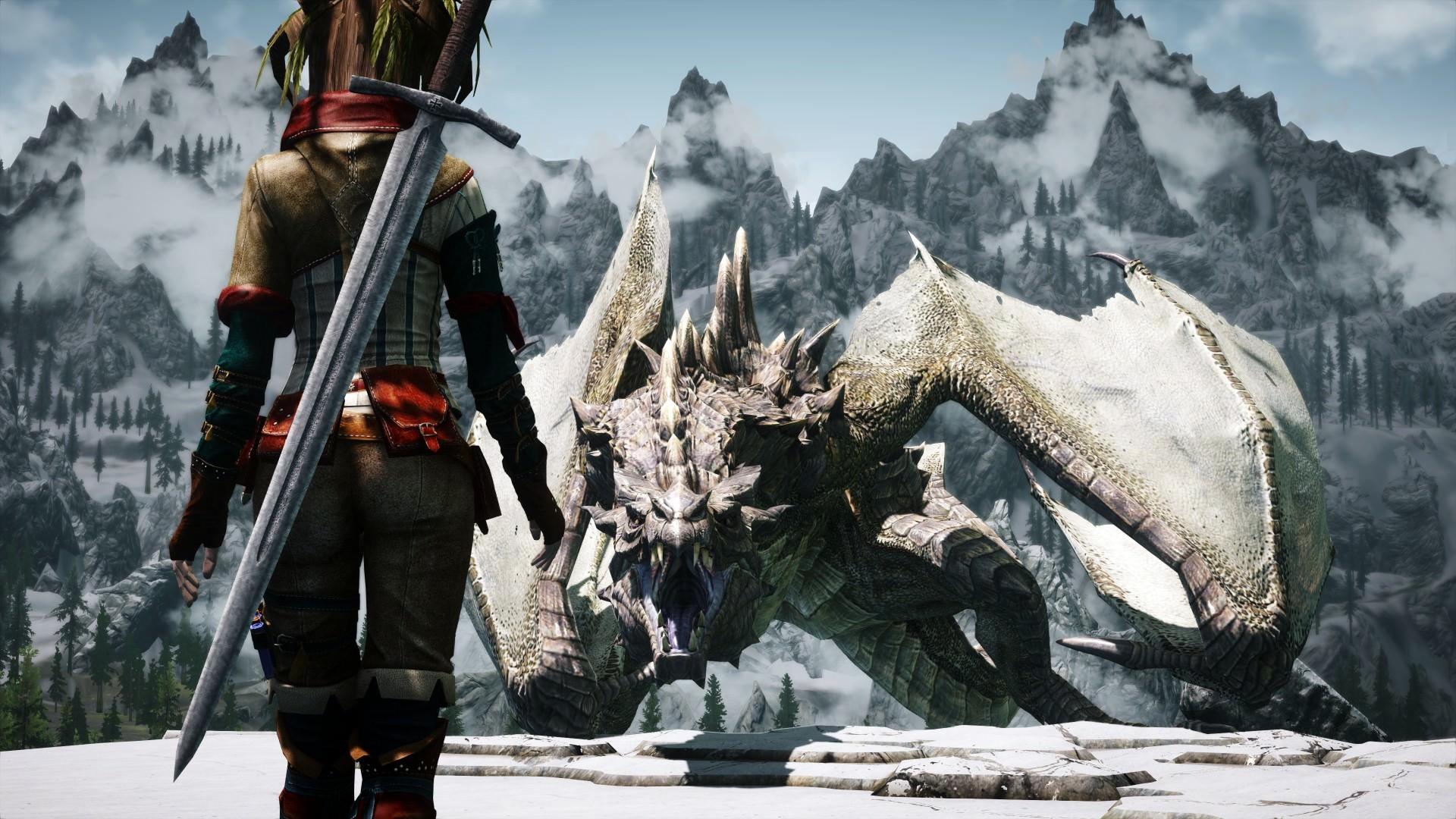 Skyrim Girl vs Dragon Wallpaper