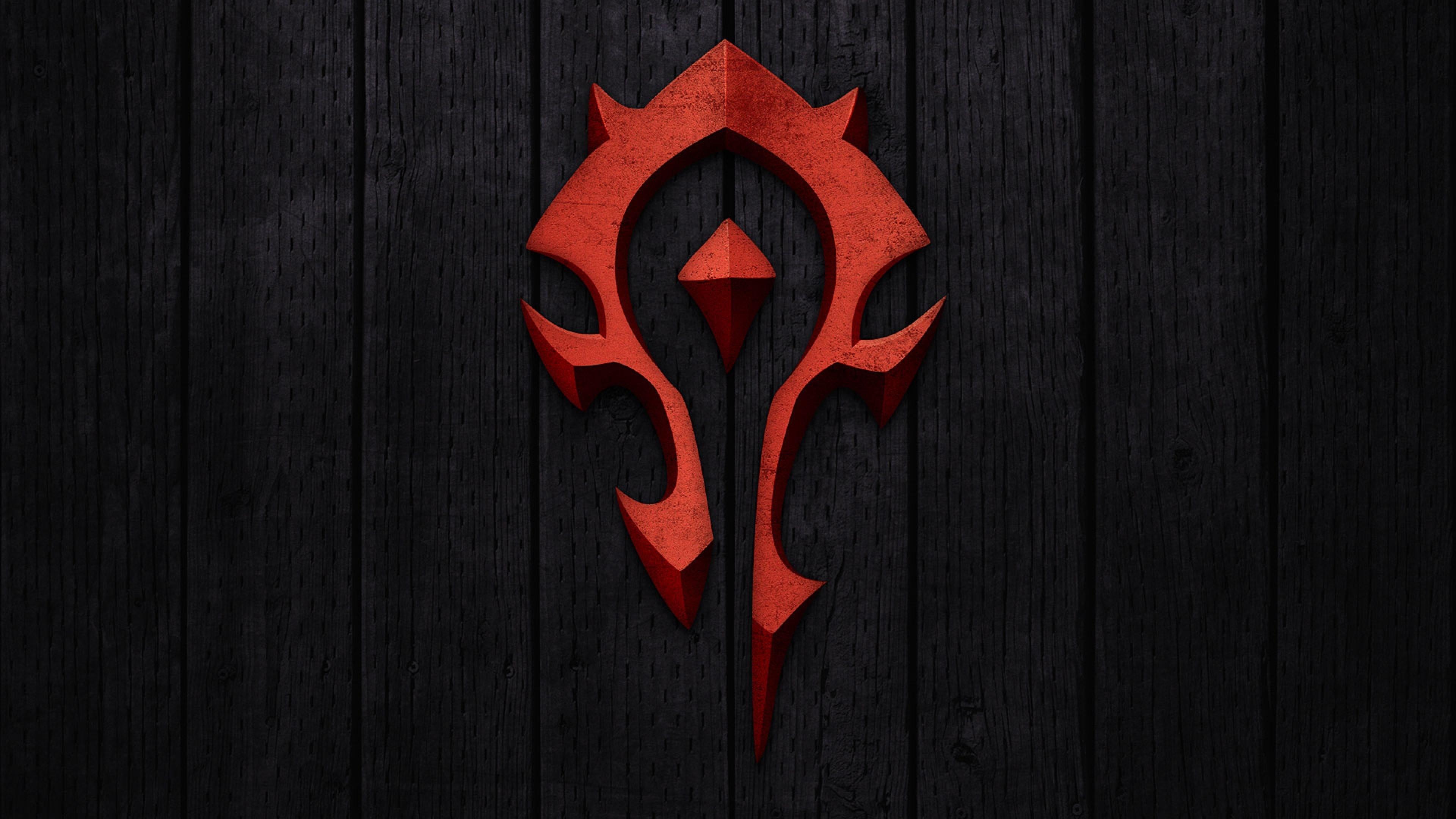 Preview wallpaper world of warcraft, horde, symbol, background, red  3840×2160