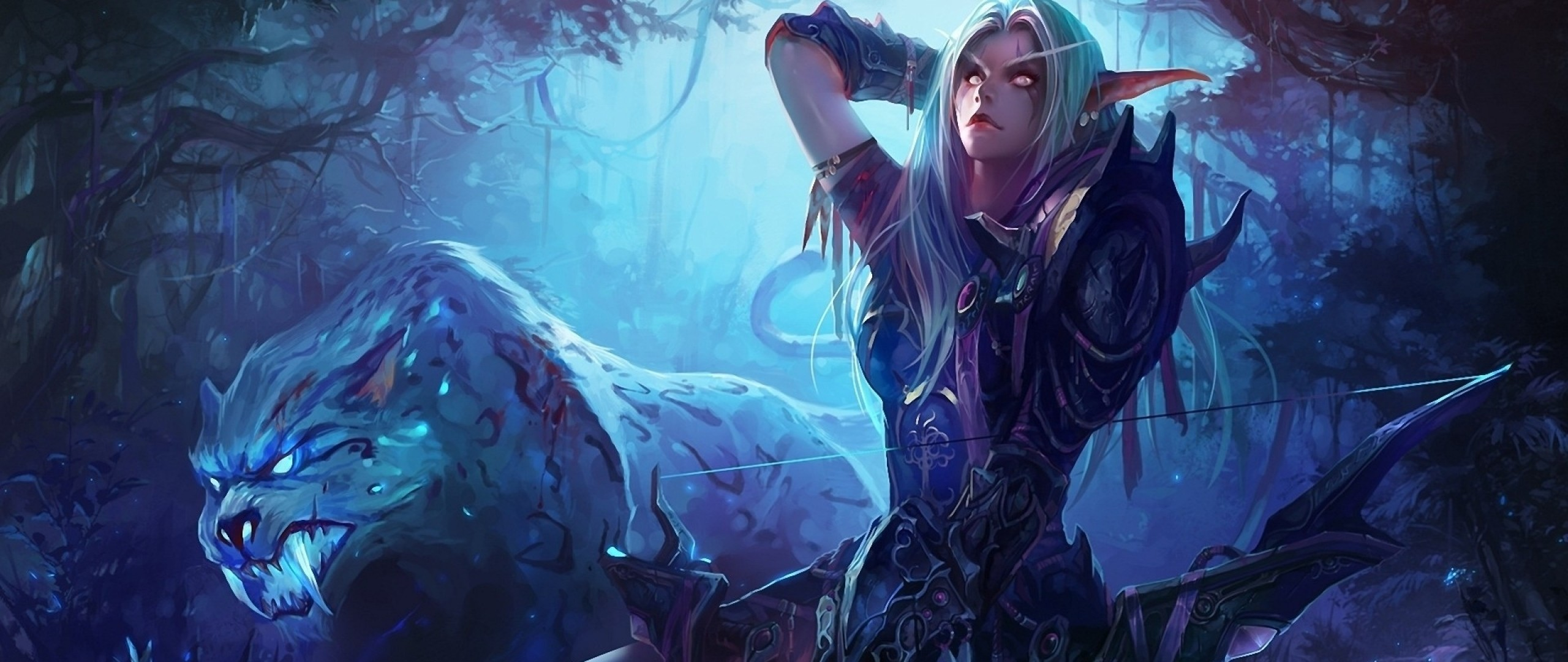 Preview wallpaper world of warcraft, girl, elf, bow 2560×1080