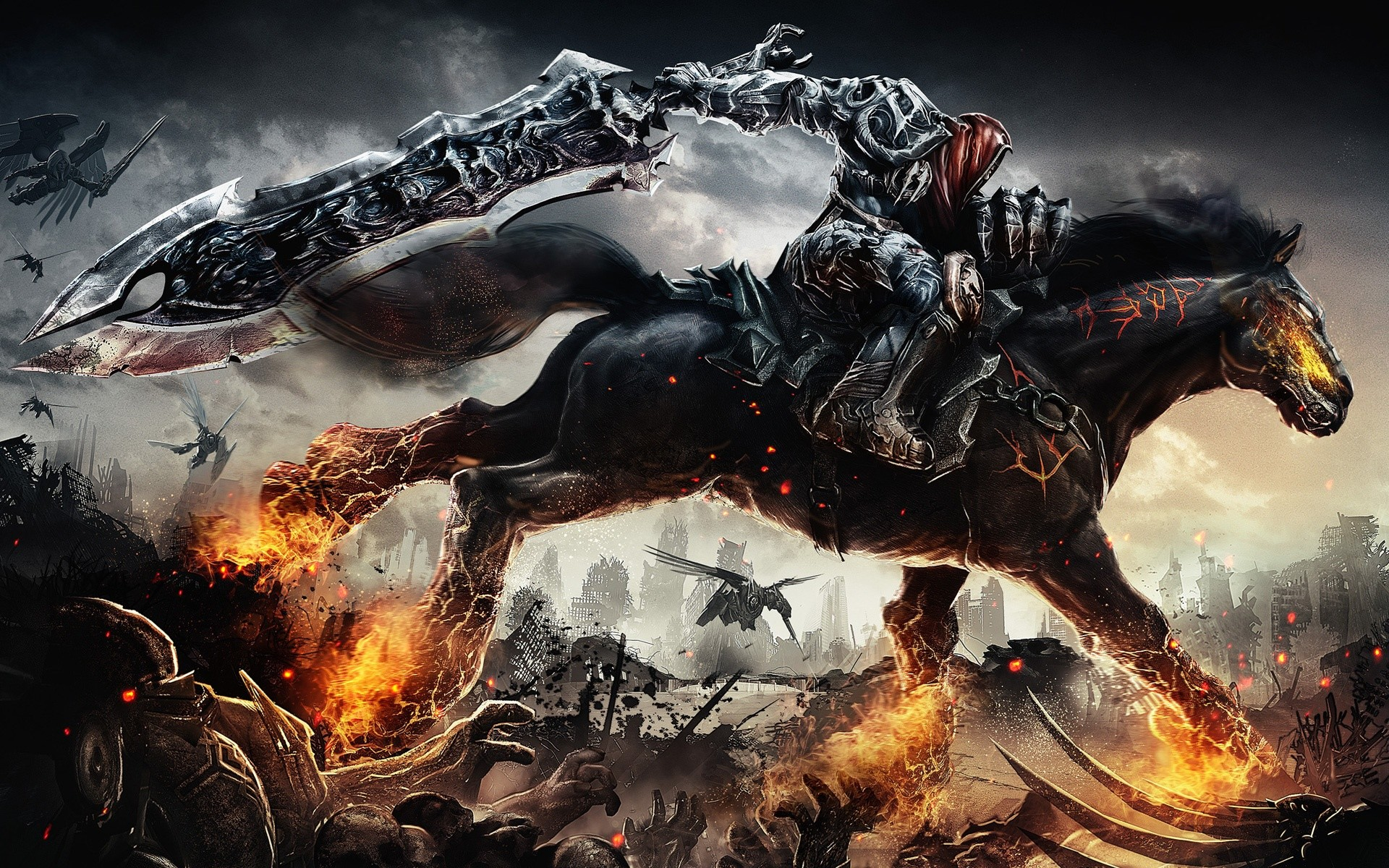 Darksiders wallpaper Wrath of War. Dark HD wallpaper of horseman from  Darksiders Wrath of War game.