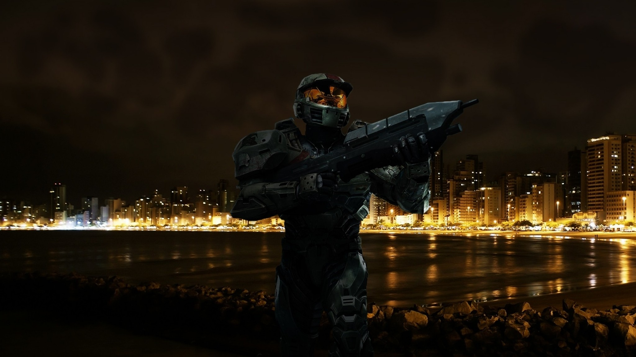 Preview wallpaper halo, beach, city, night 2048×1152