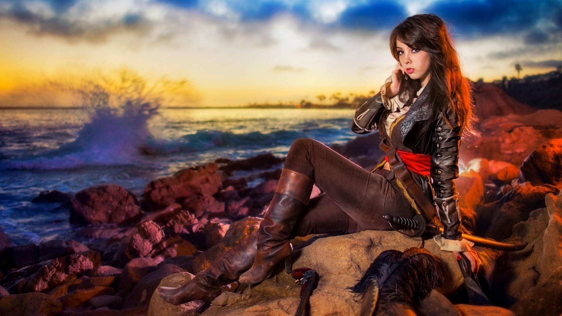 … assassin's creed iv: black flag, brunette,. Open wallpaper