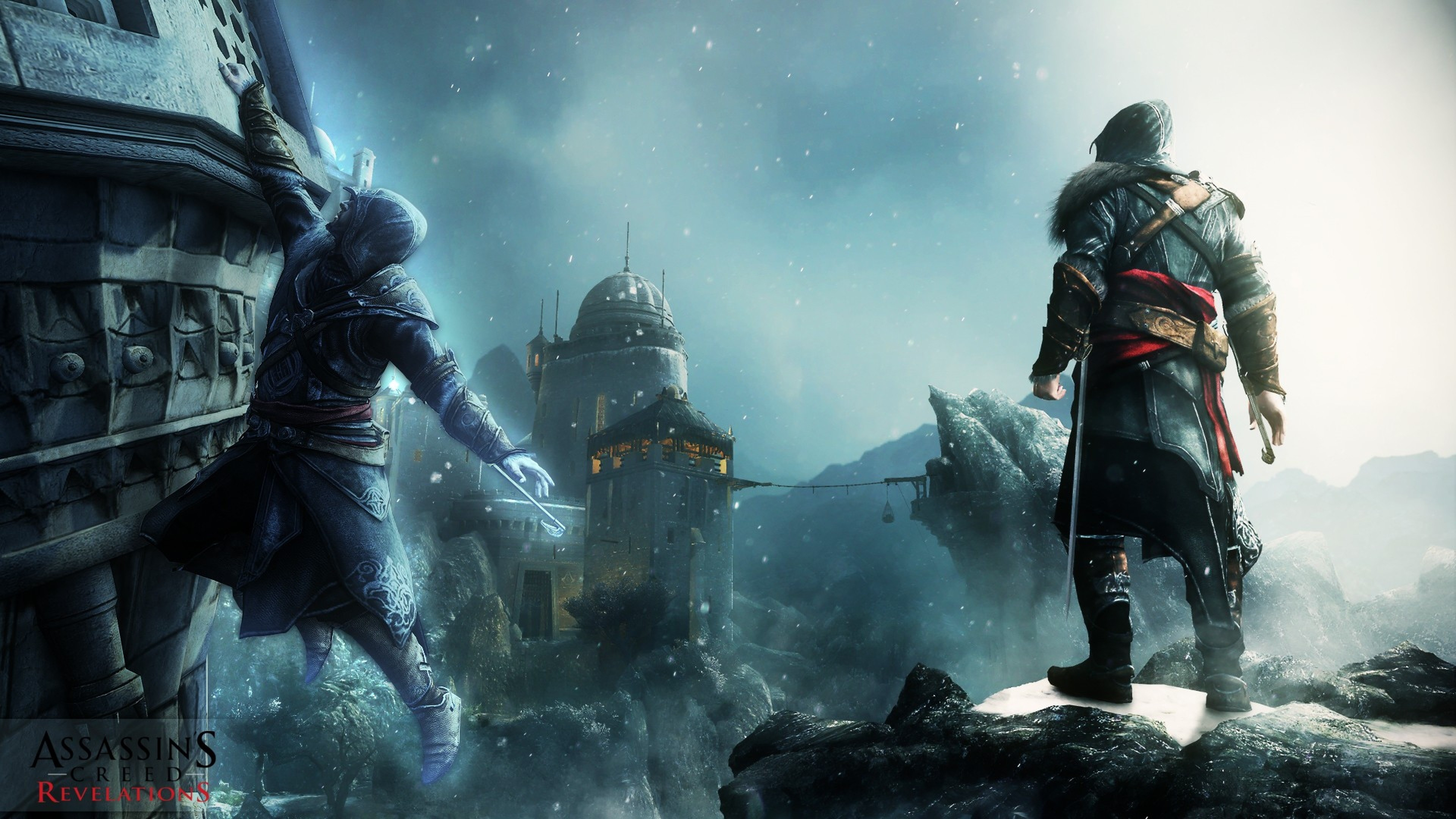 Preview wallpaper assassins creed revelations, desmond miles, castle, wall,  snow, mountains