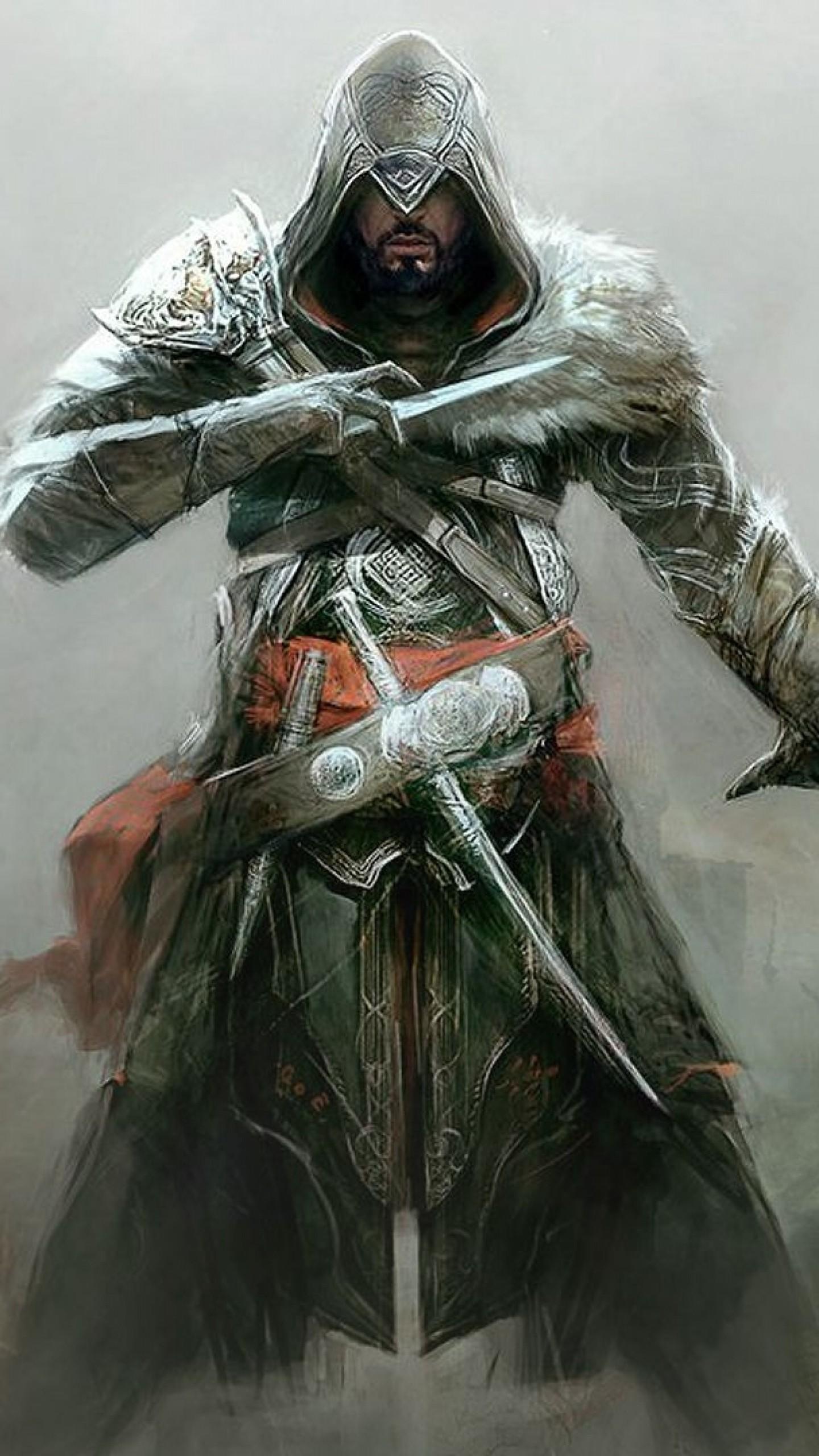 Preview wallpaper assassins creed revelations, desmond miles, knifes, arm,  picture 1440×2560