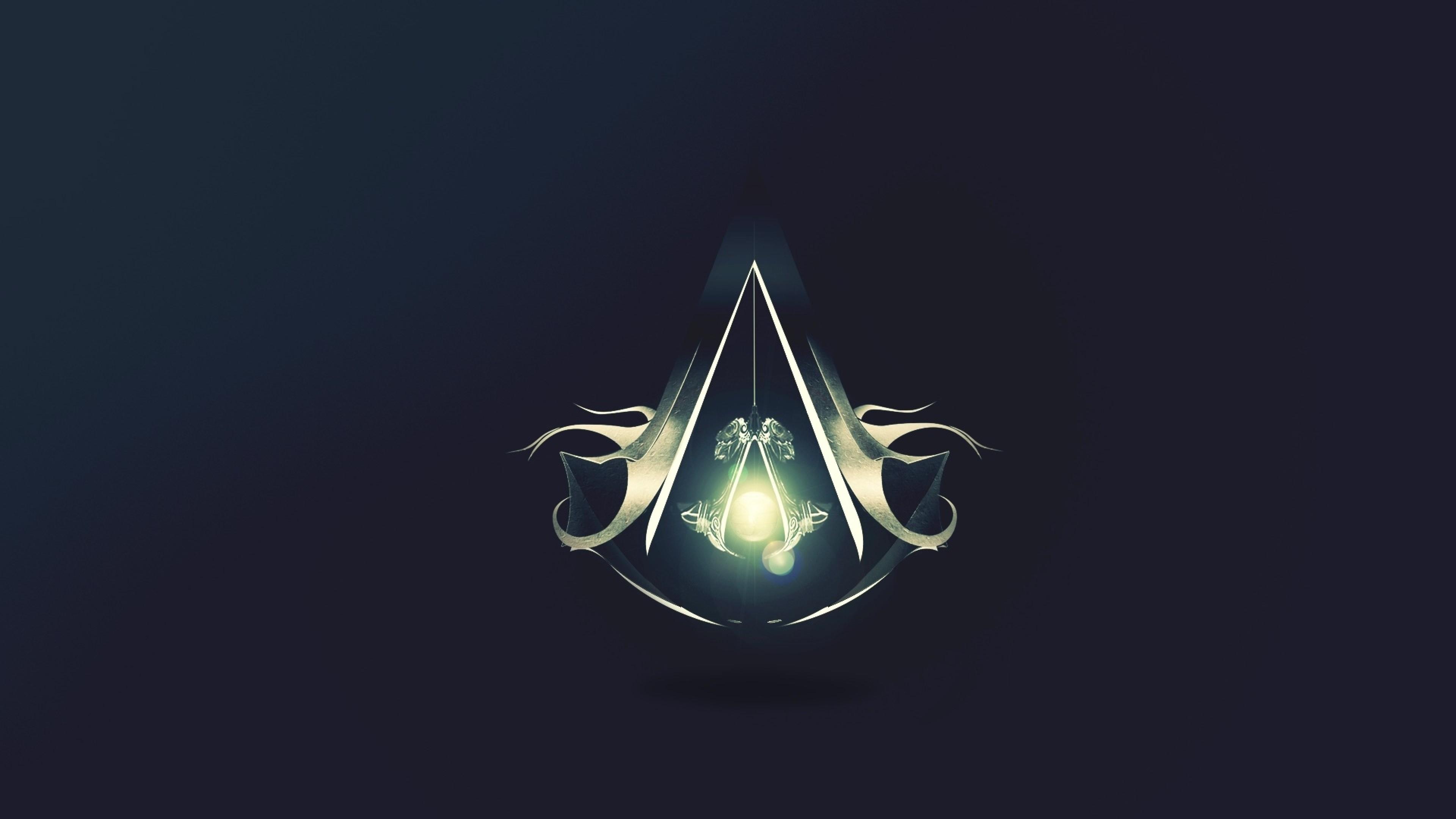 Preview wallpaper assassins creed revelations, assassins symbol, graphics,  light, background 3840×2160