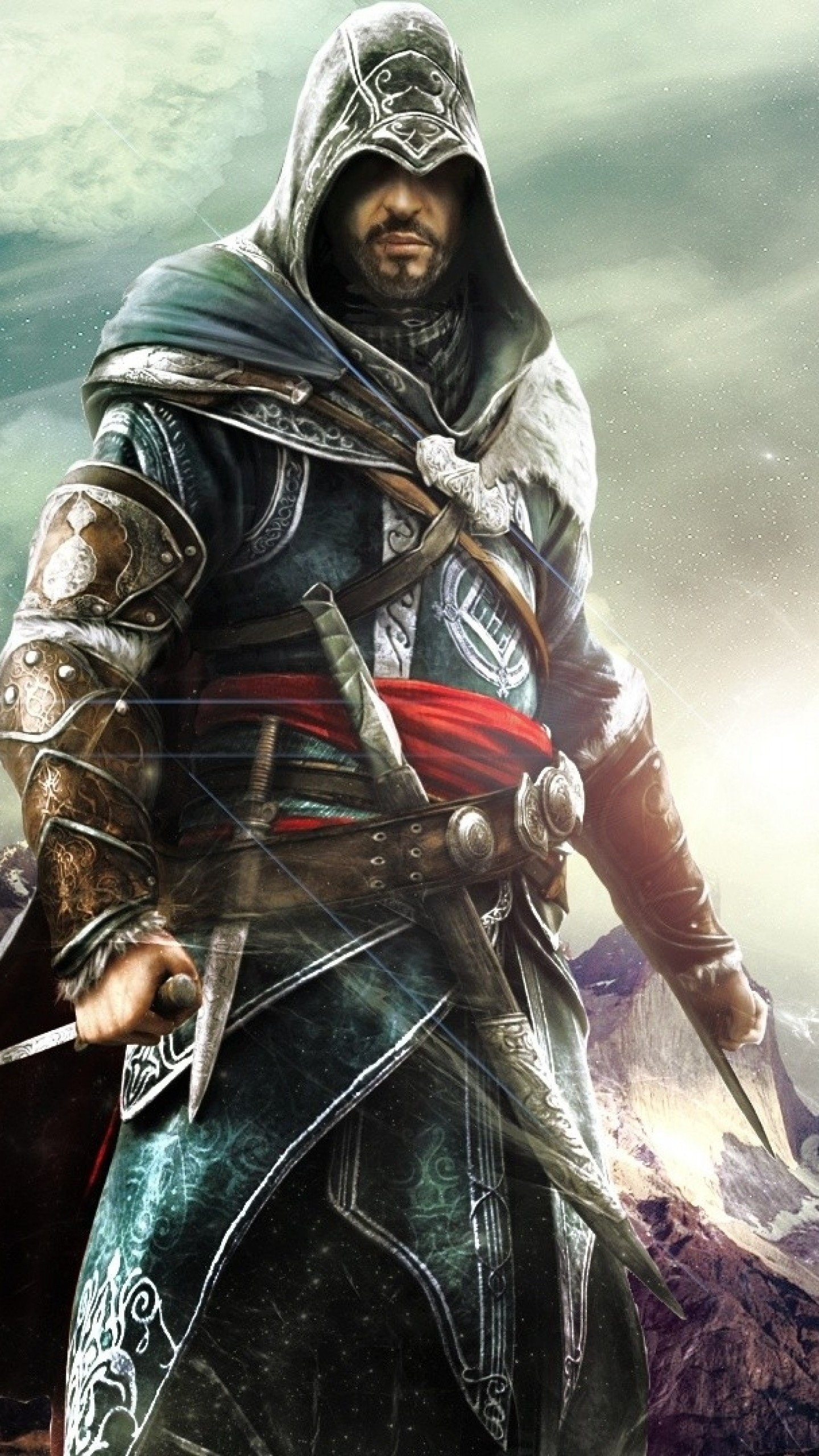 Wallpaper assassins creed revelations, desmond miles, hood,  knife, mountains