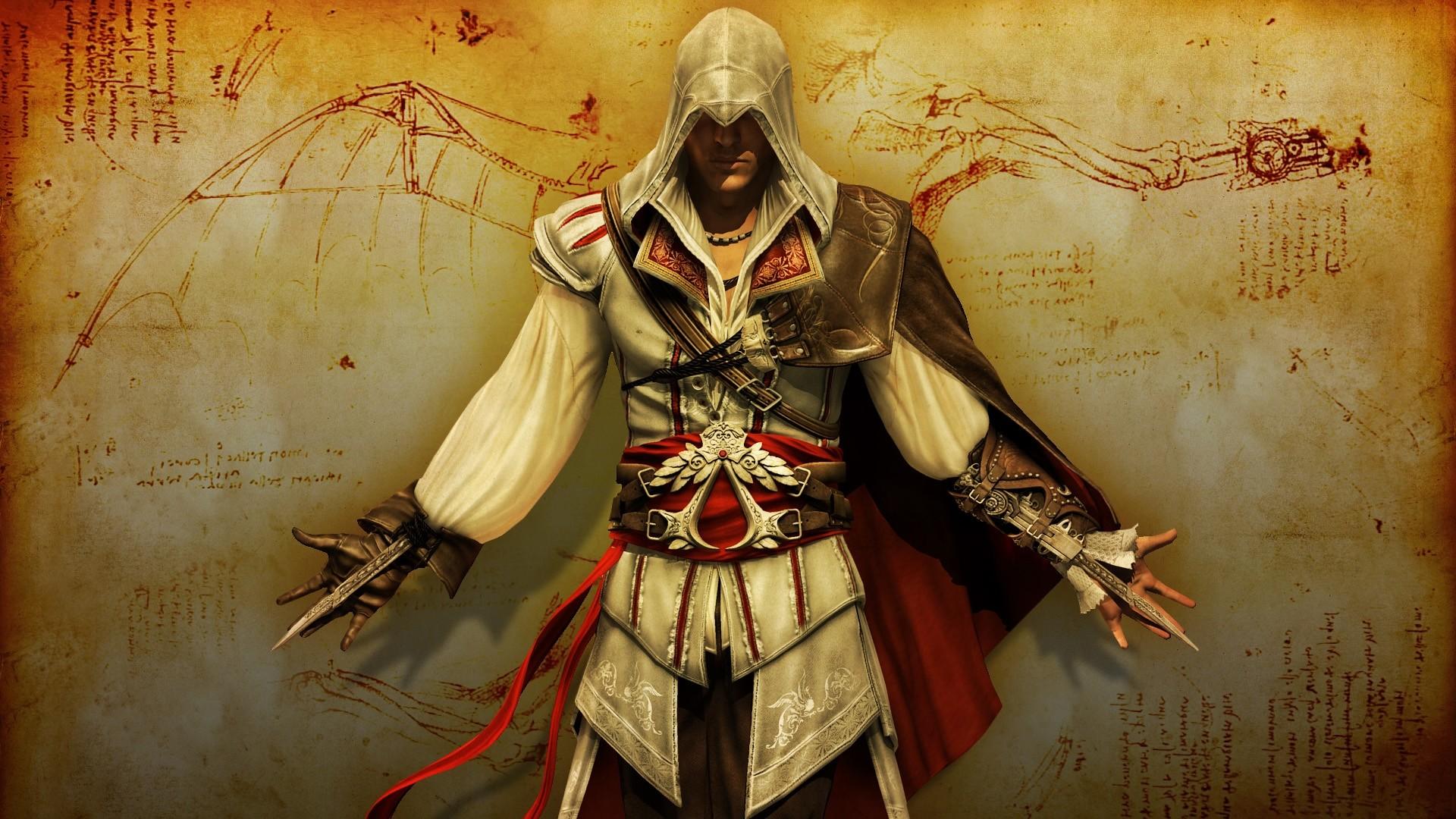 Wallpaper assassins creed revelations, desmond miles, knifes,  hood, drawing