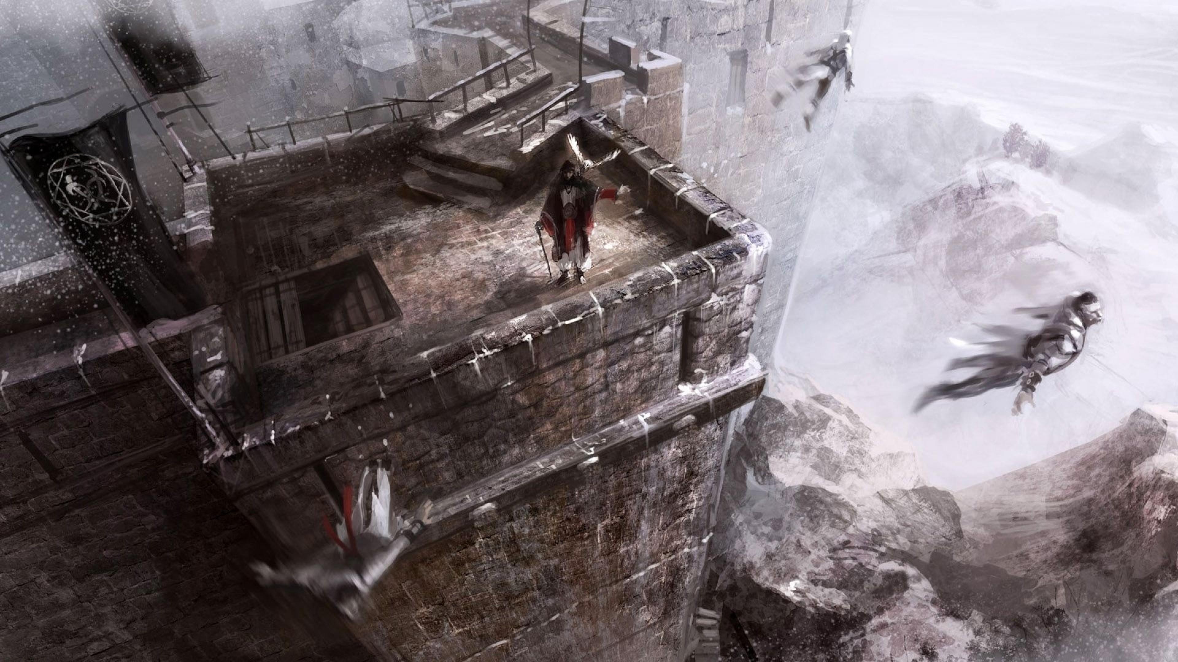 Wallpaper assassins creed revelations, jump, tower, castle, fan  art