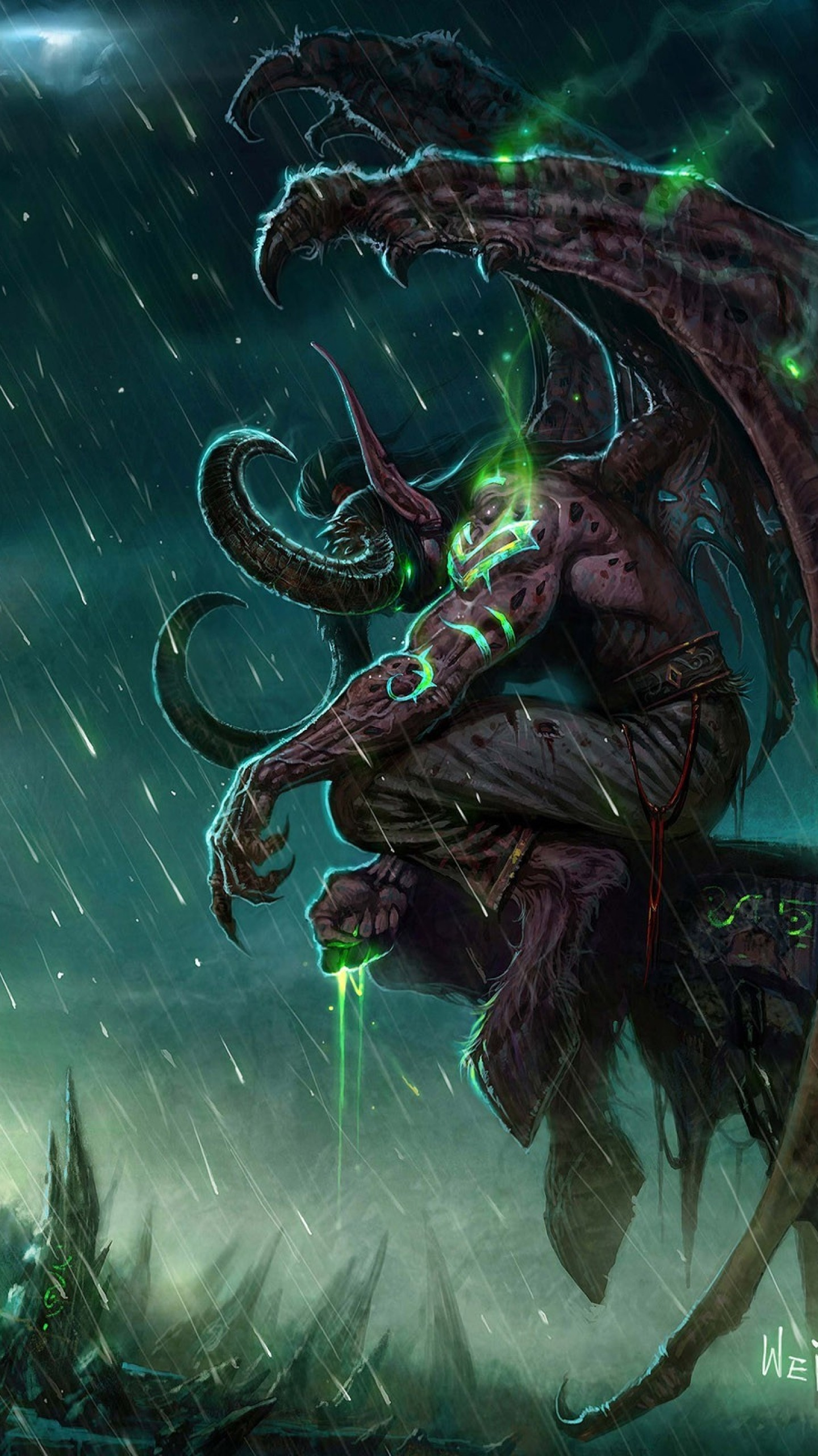 Wallpaper wow, illidan, world of warcraft, castle, monster, bad  weather