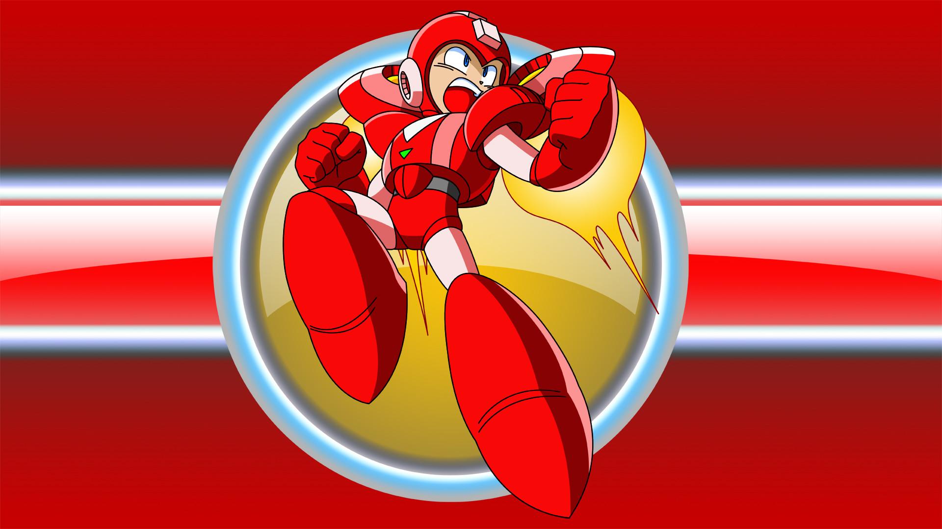 Red Megaman Jet Desktop Wallpaper