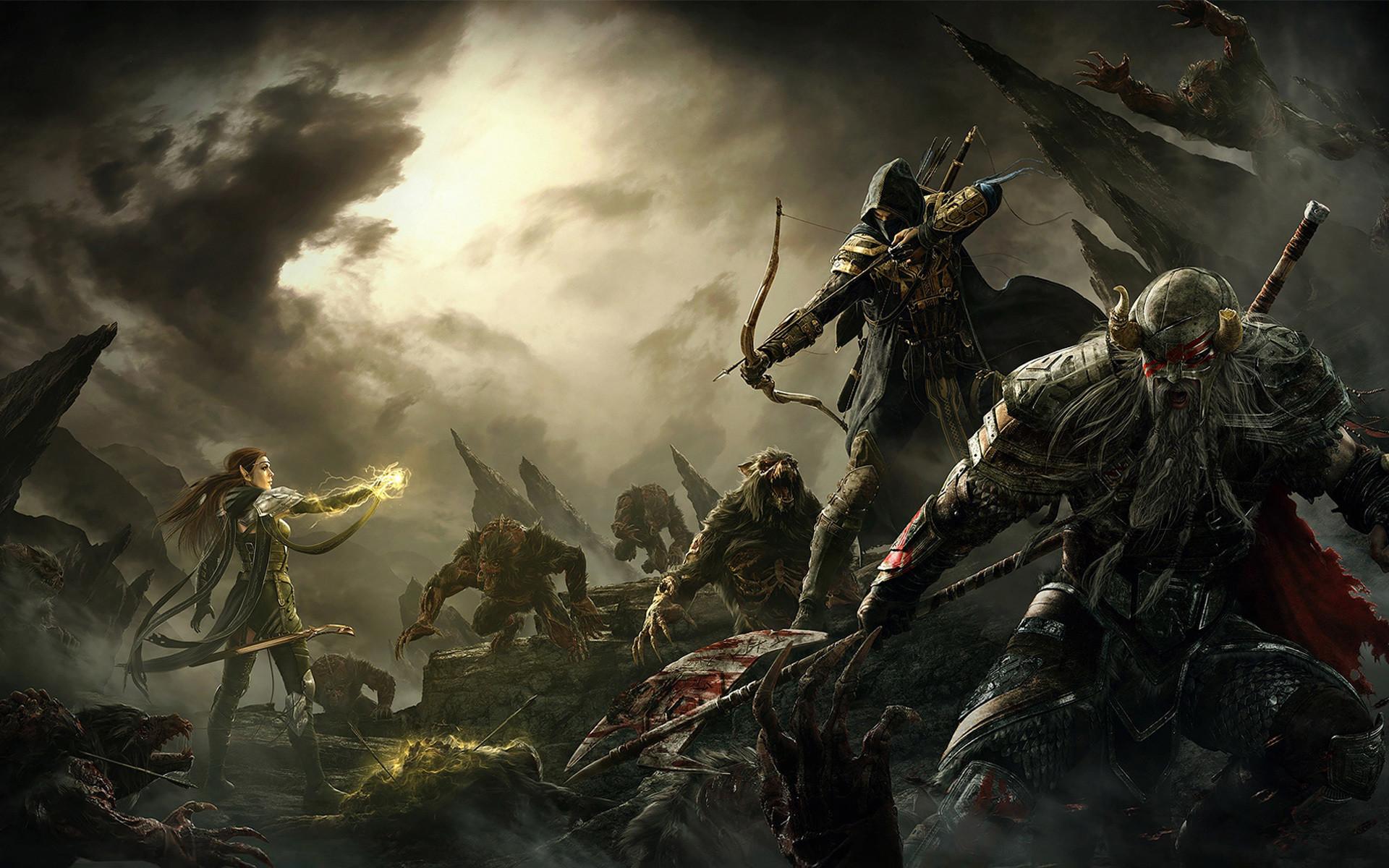 Elder Scrolls V Skyrim Warriors Archer Men Monster Armor Game Fantasy  battle magic wallpaper background   Video Games   Pinterest   Armor games,  …