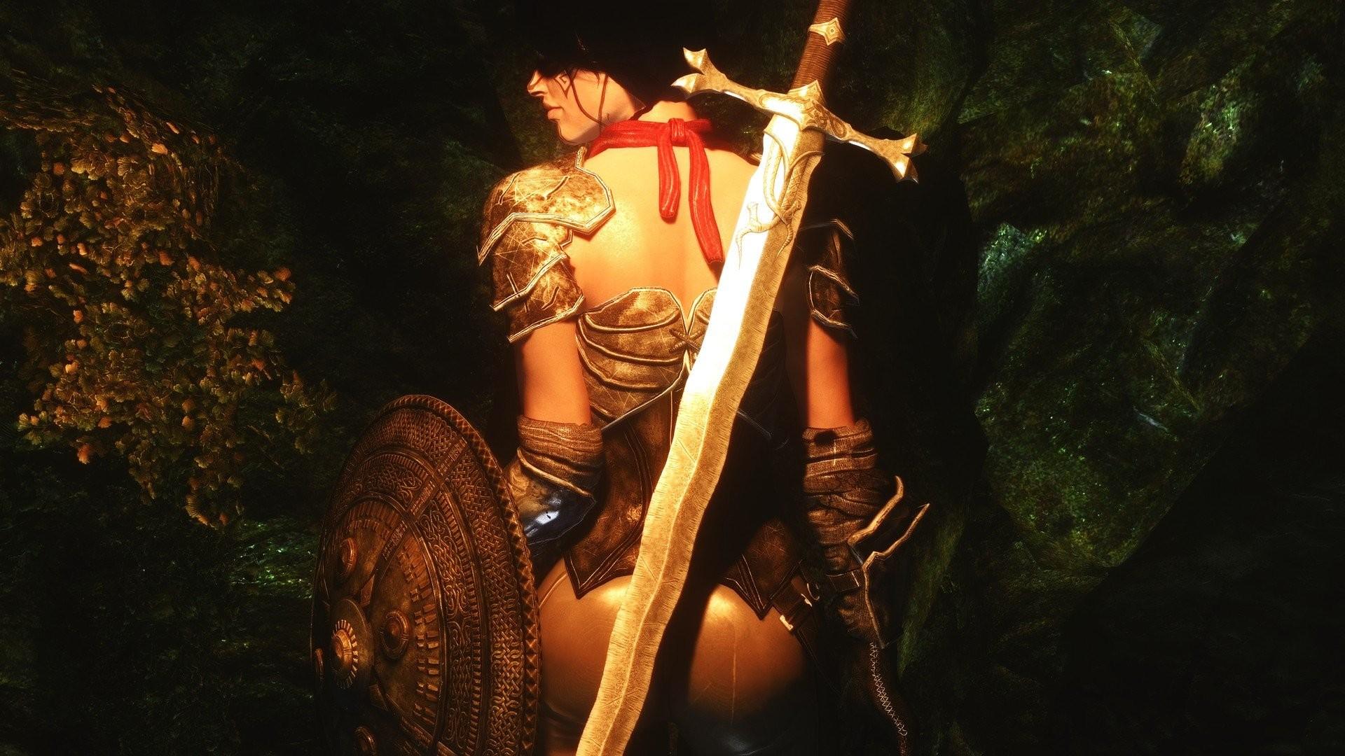 Armor Fantasy Green Shields Swords The Elder Scrolls V Skyrim Video Games  Warriors Weapons Women
