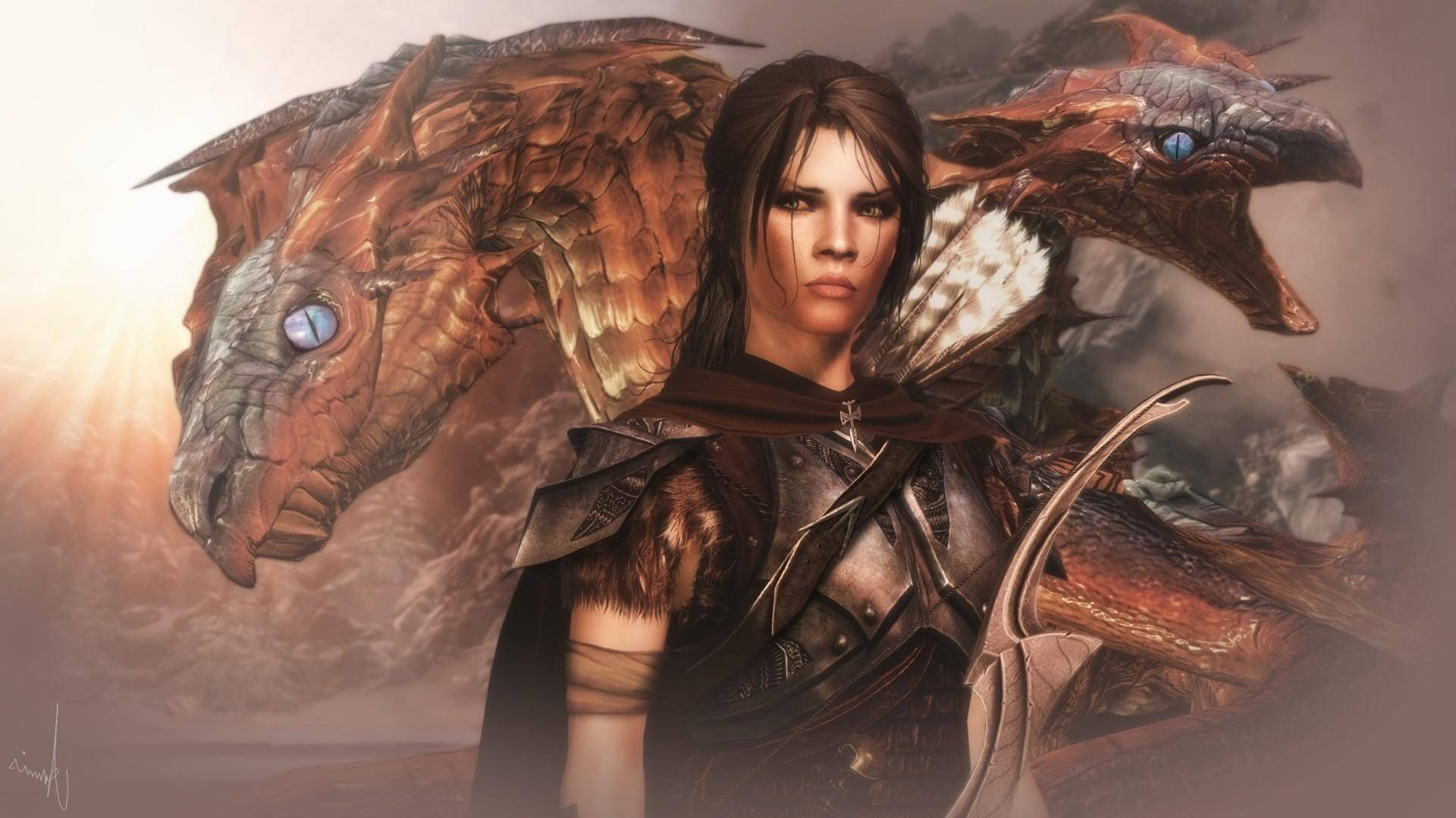 The Elder Scrolls V: Skyrim, Women, Dragon, Twins Wallpapers HD / Desktop  and Mobile Backgrounds
