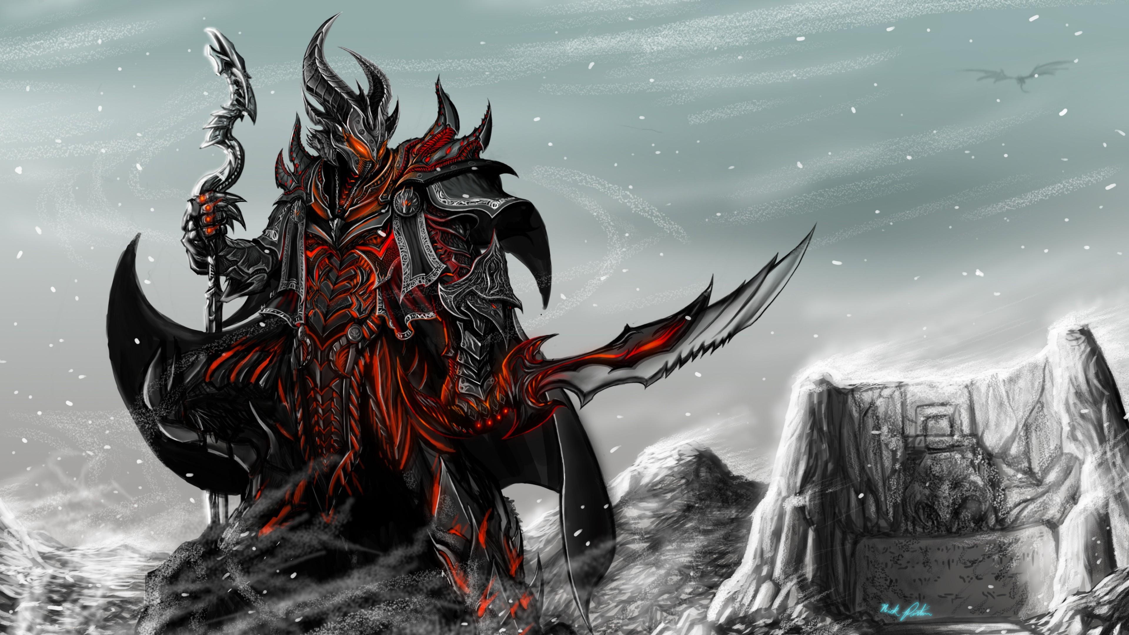 Preview wallpaper skyrim, game, art, rider, armor, staff, sword 3840×2160