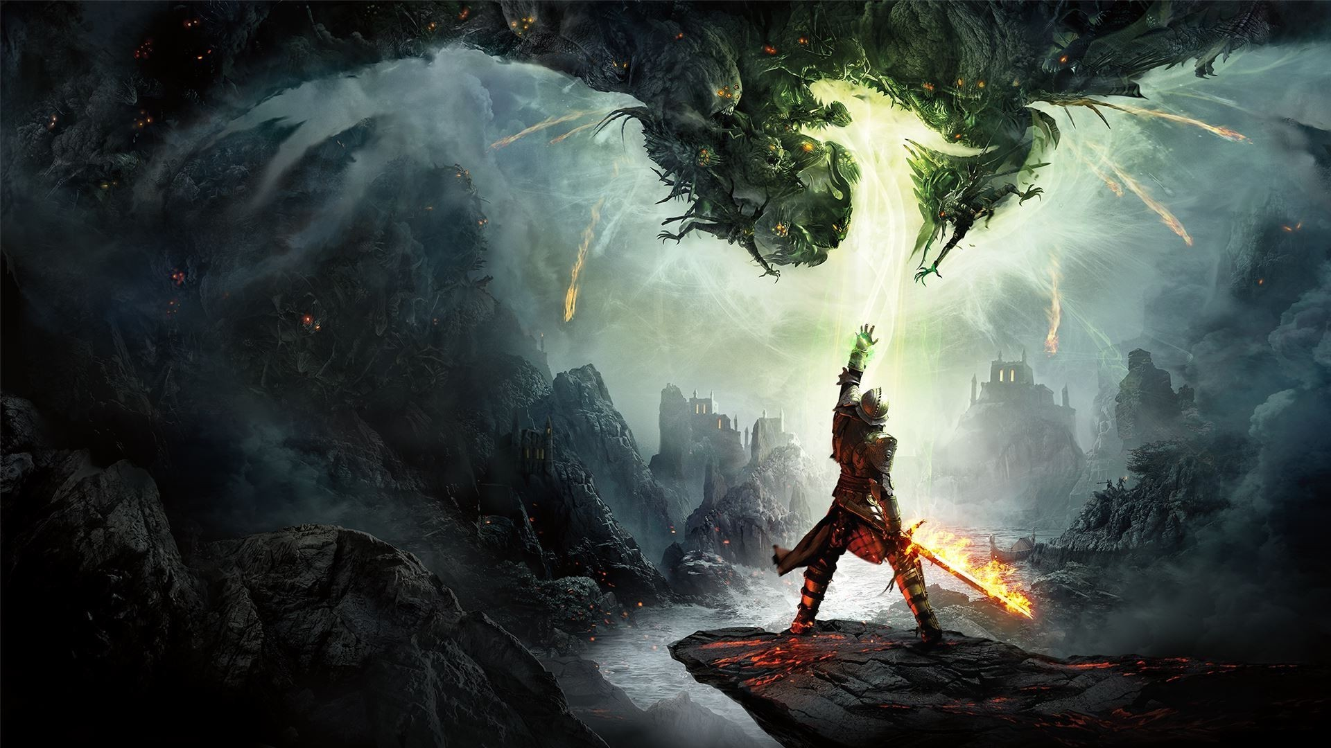 Dragon Age: Inquisition, Dragon Age Inquisition, Dragon Age, Video Games,  Fantasy Art, Fire, Knights Wallpapers HD / Desktop and Mobile Backgrounds