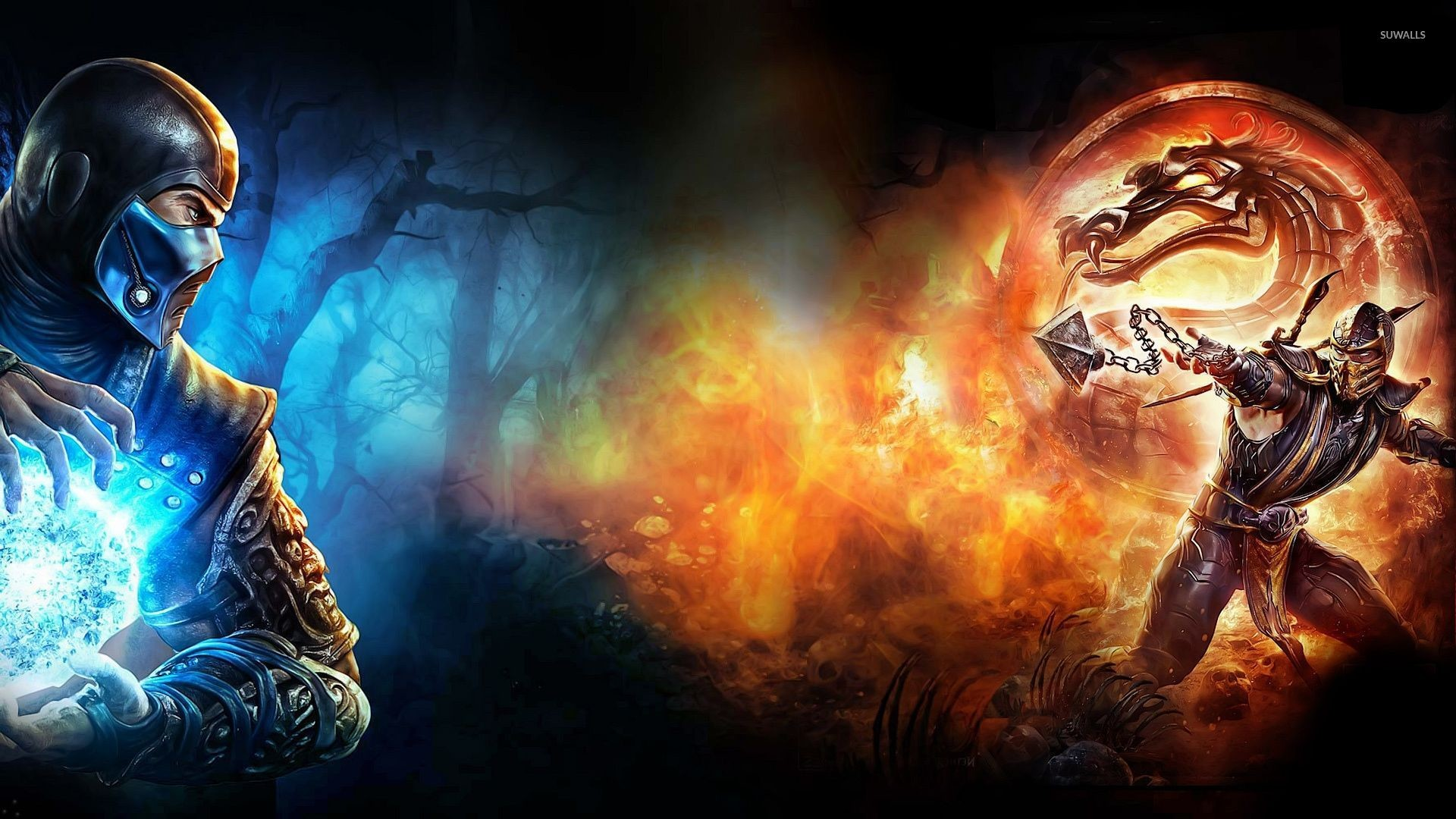 Sub-Zero vs Scorpion in Mortal Kombat X wallpaper