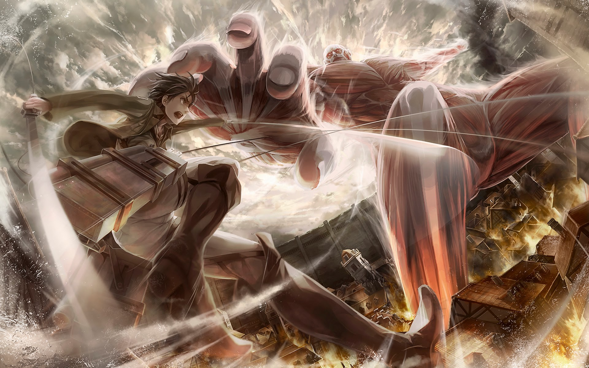 colossal-titan-vs-eren-jaeger-attack-on-titan-hd-wallpaper-1920×1200.jpg  (1920×1200) | Shingeki No Kyojin | Pinterest | Anime fan art and Anime