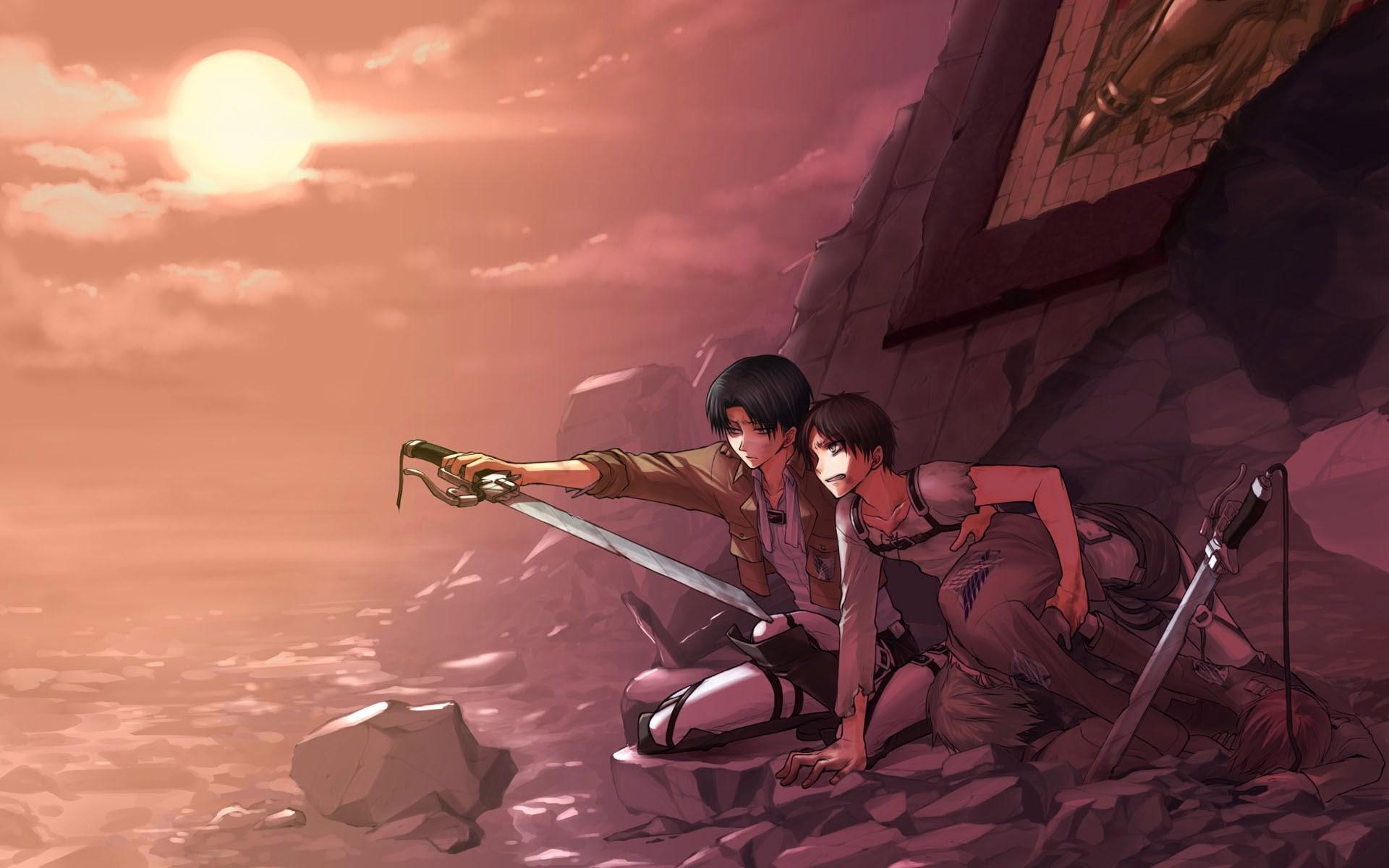 levi eren armin attack on titan shingeki no kyojin sunset hd wallpaper