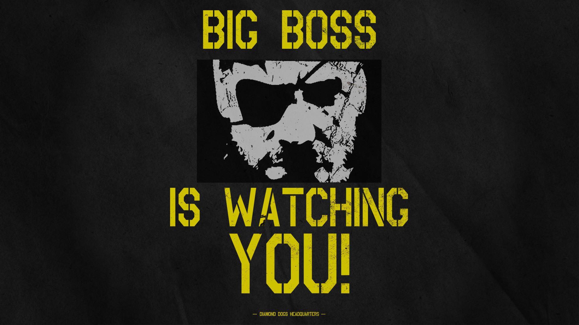 """MGSV SpoilersInspired by seeing """"BIG BOSS IS WATCHING YOU"""" posters in the  new E3 trailer. I decided to create a wallpaper reincarnation (1920×1080)  MOBILE …"""