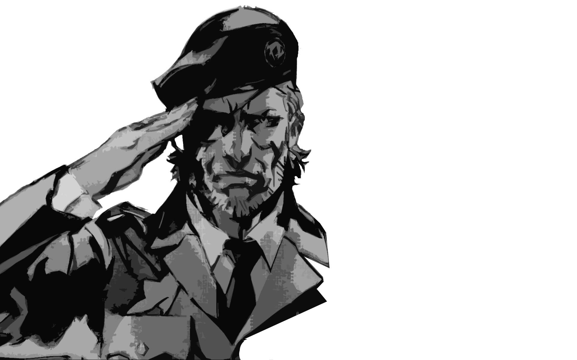 General Metal Gear minimalism soldier monochrome Big Boss video  games simple background Metal Gear Solid