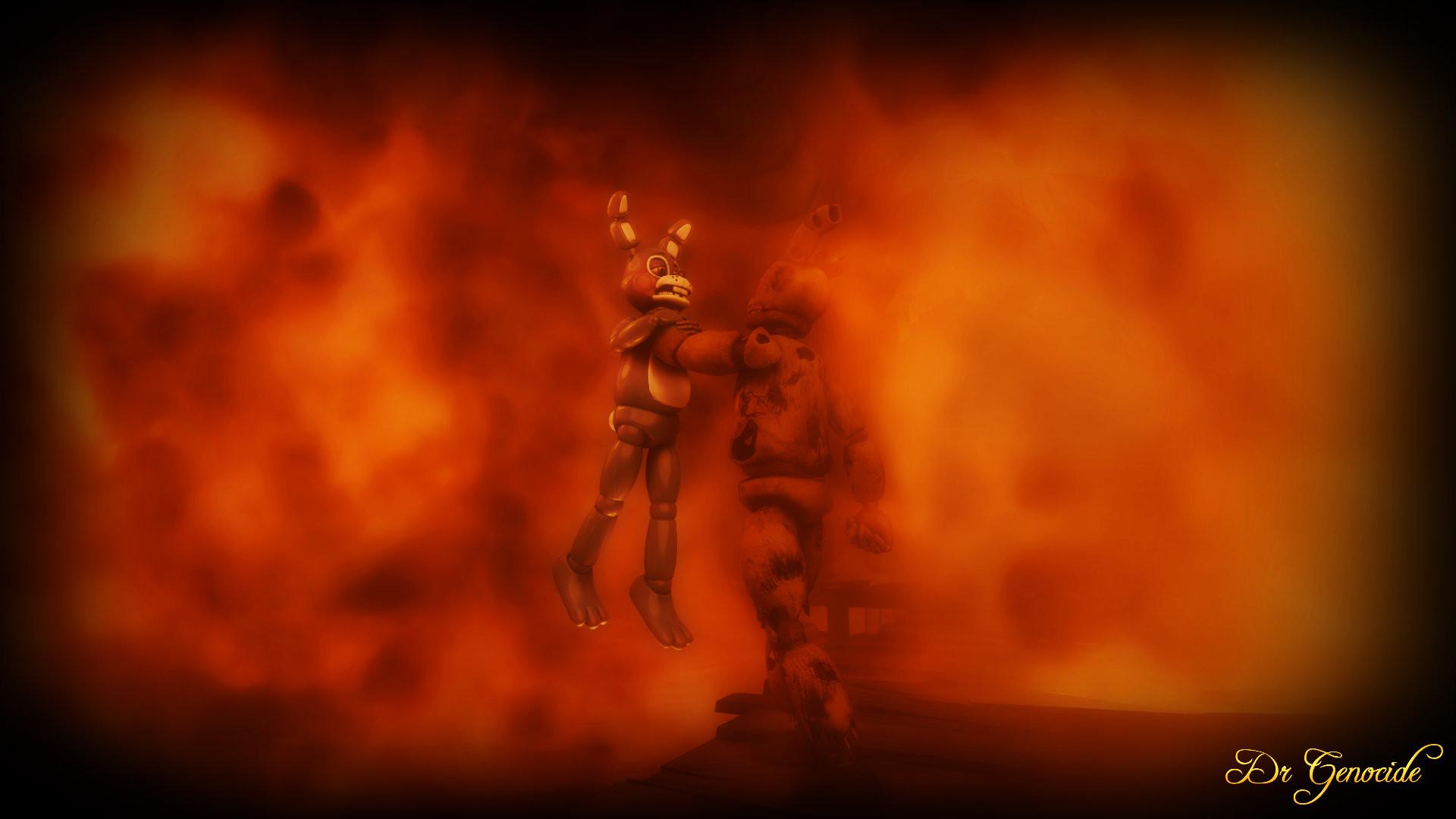 FNAF 3: Springtrap vs Toy Bonnie Wallpaper Scene 2 by DrGenocideSFM on .