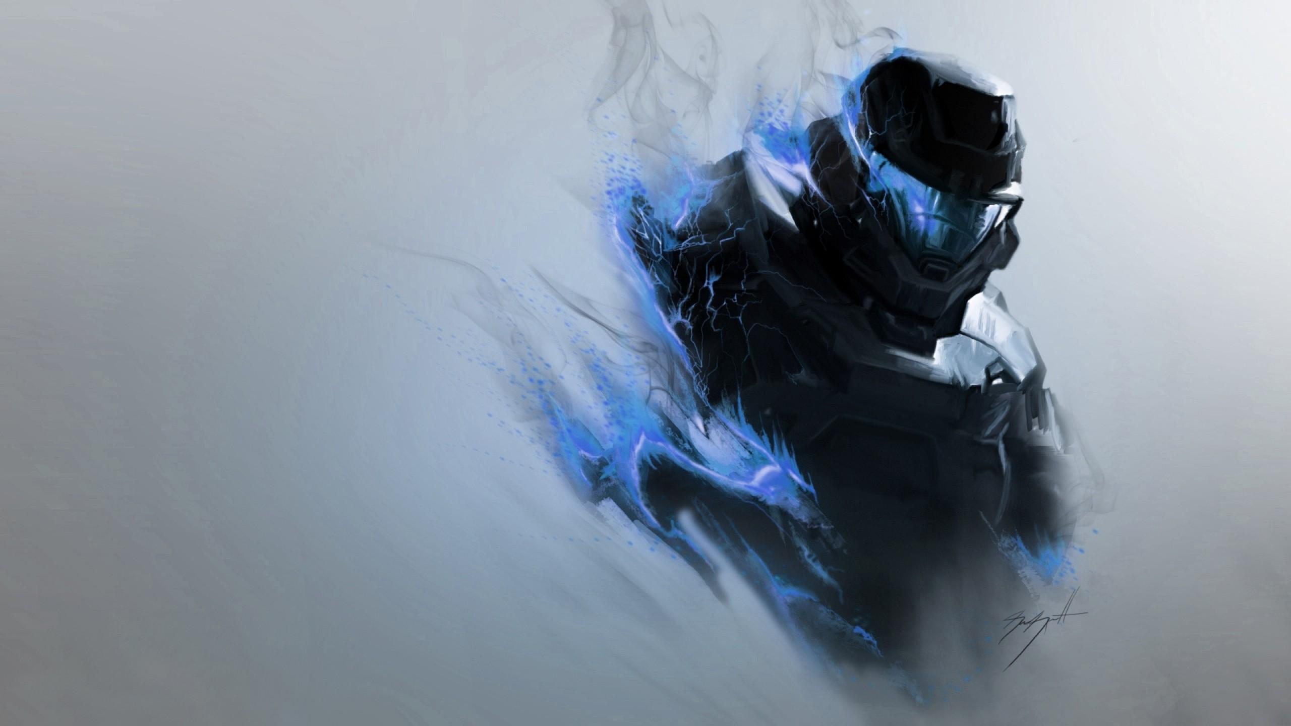Preview wallpaper halo, smoke, armor, soldier, helmet 2560×1440
