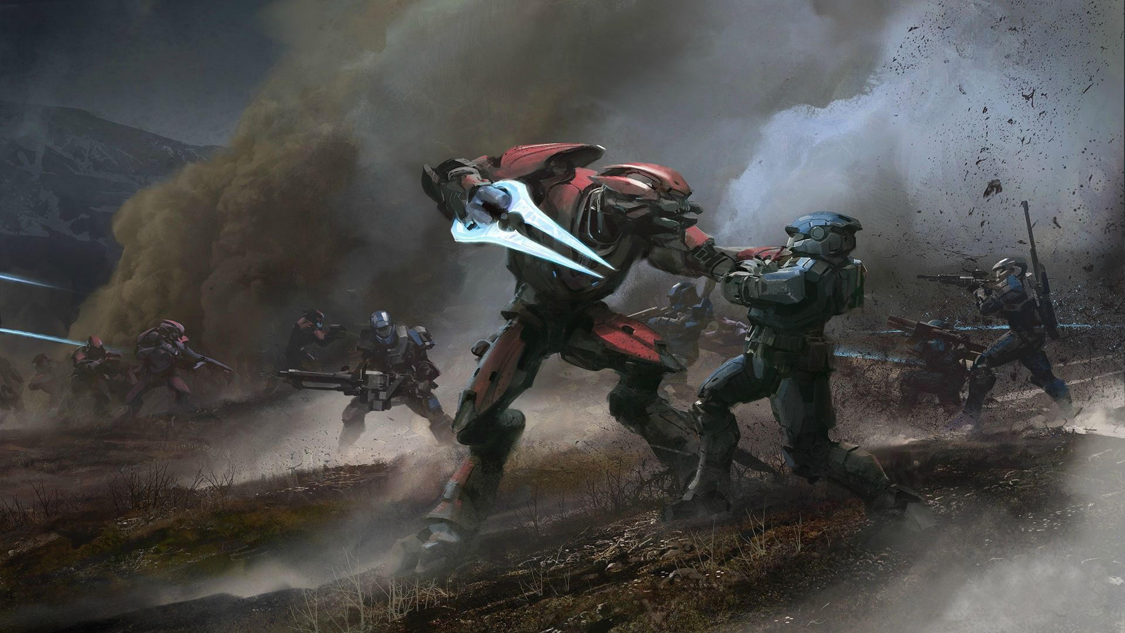 Preview wallpaper halo, reach, elite, battle, spartan 3840×2160