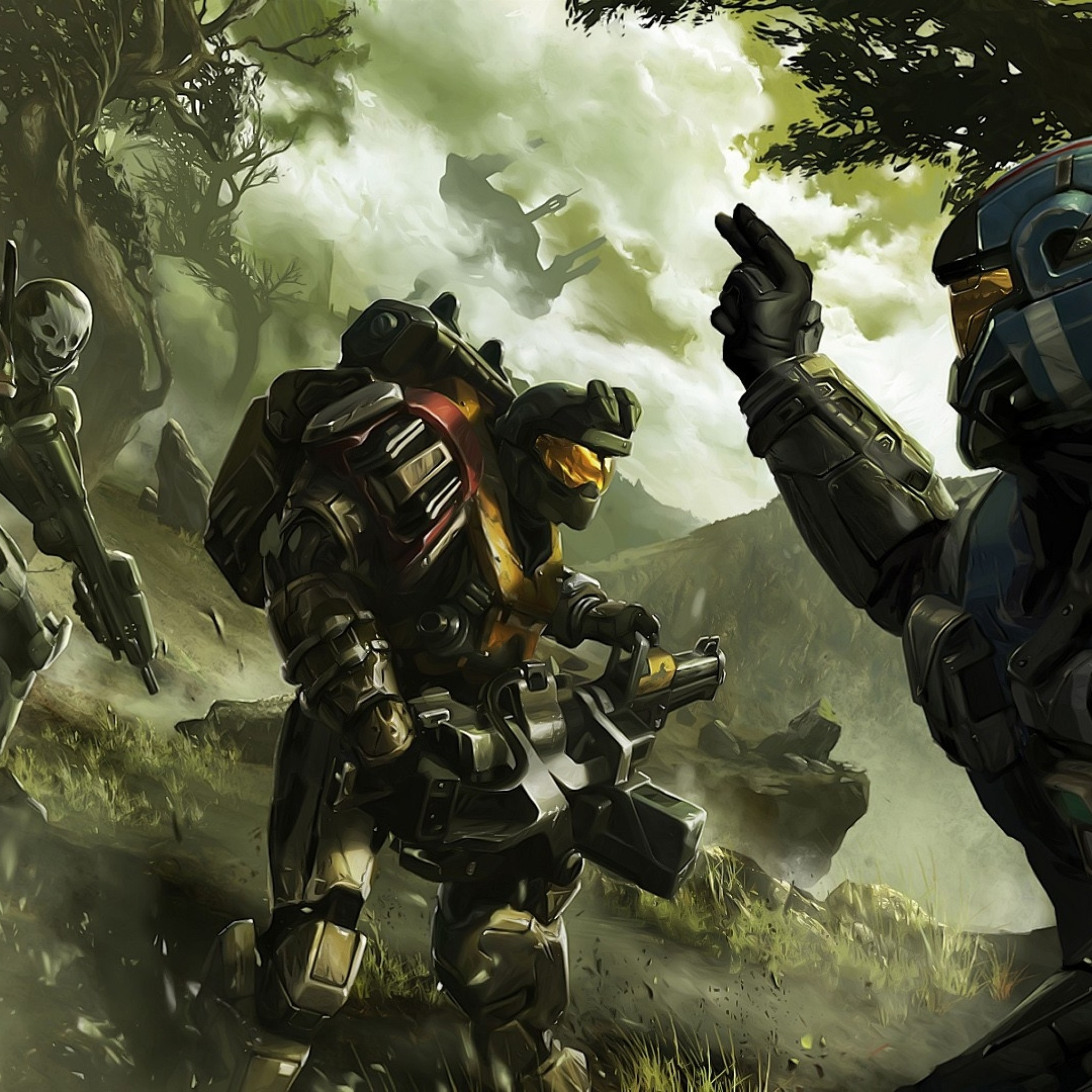 Preview wallpaper halo, soldier, commander, trees 2048×2048