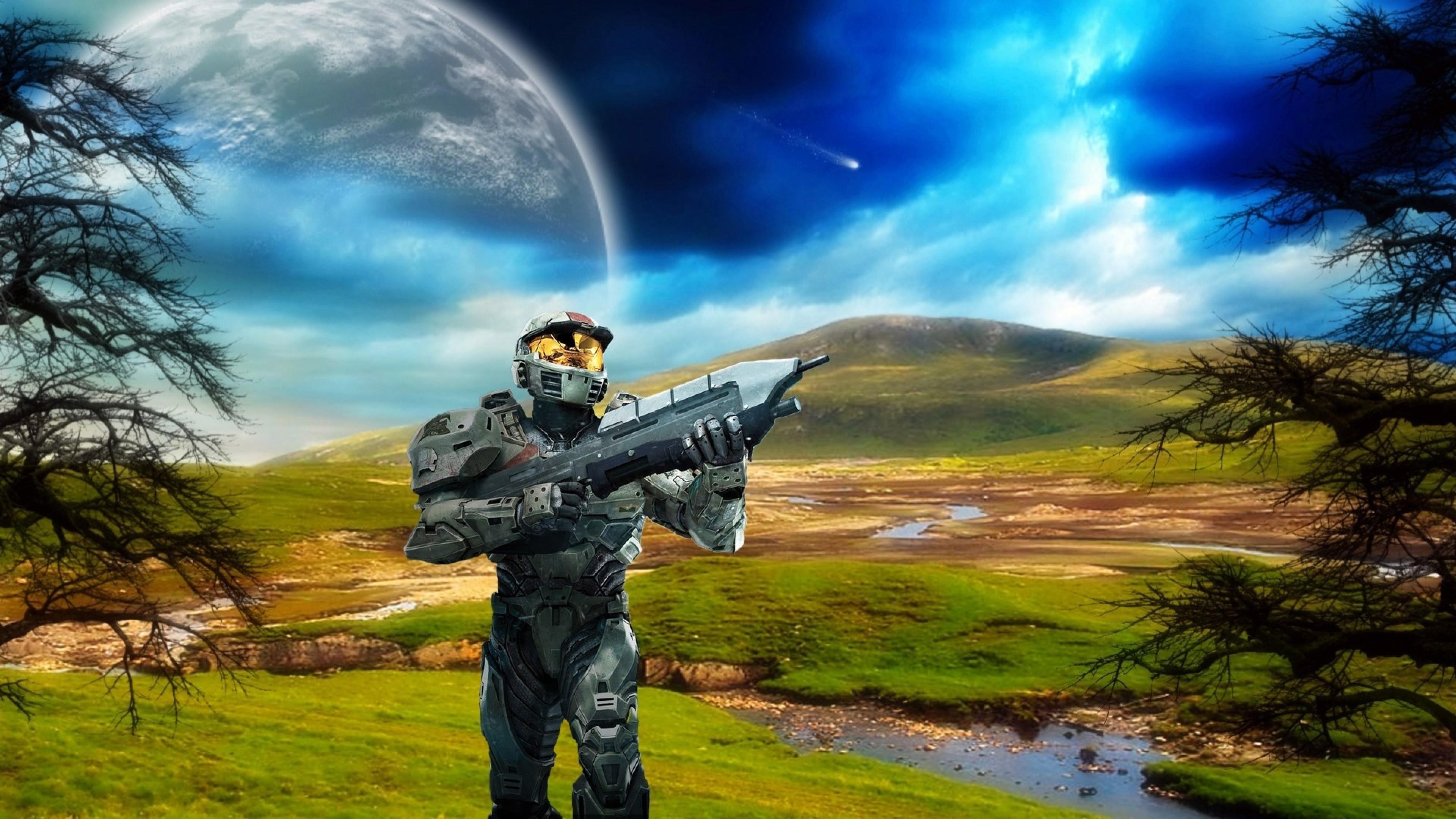 Preview wallpaper halo, plain, planet, gun 3840×2160