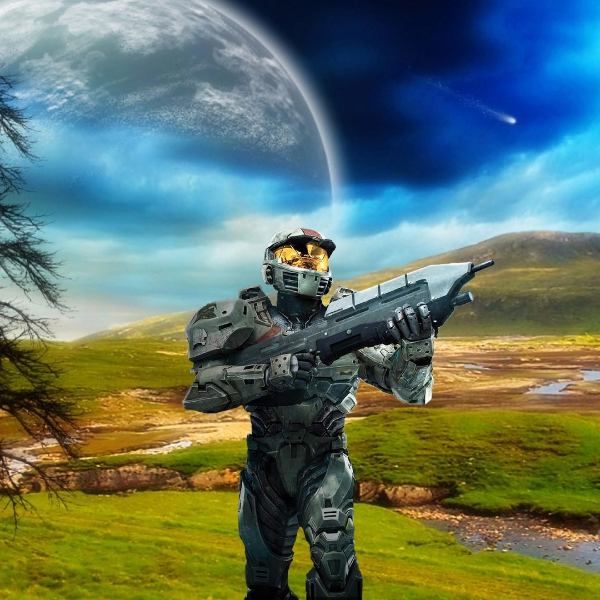 Preview wallpaper halo, plain, planet, gun 2048×2048