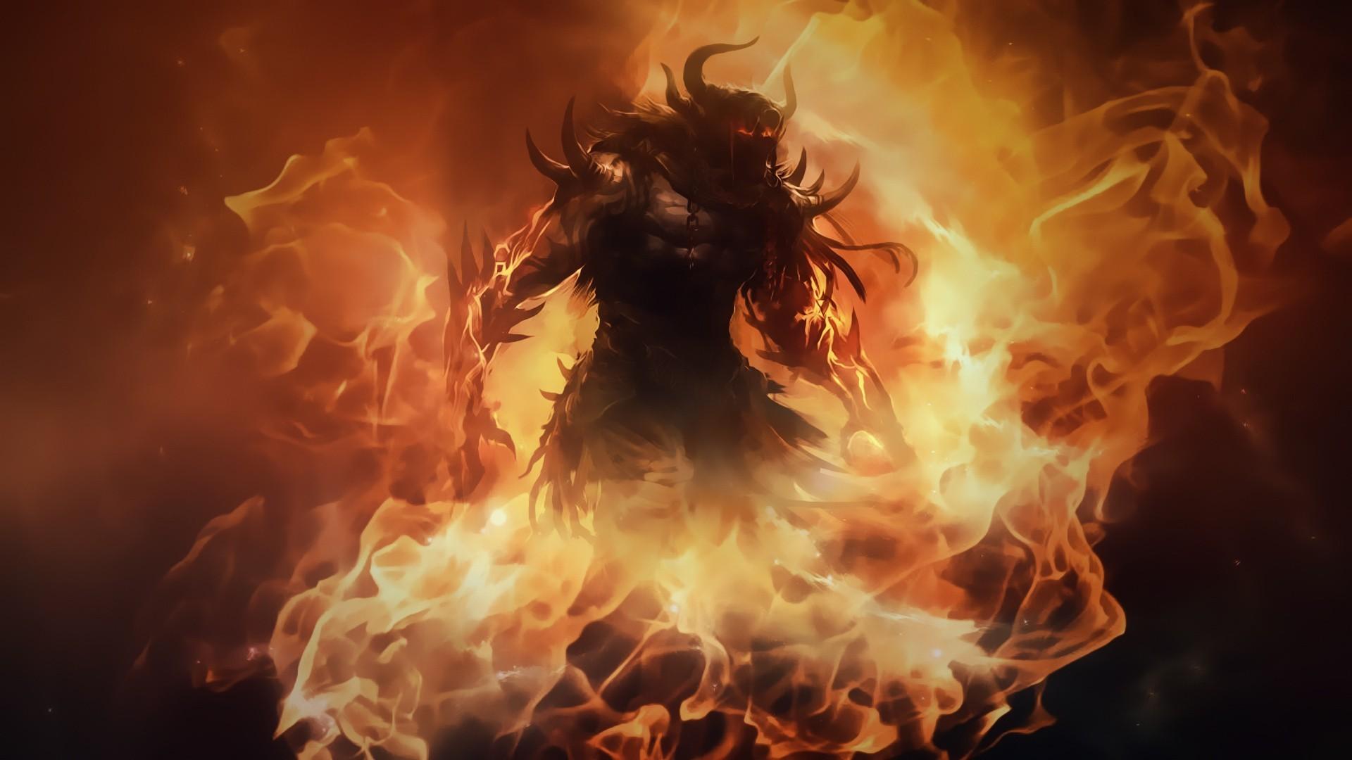 Artwork Barbarian Demons Diablo III Fantasy Art Fire Horns