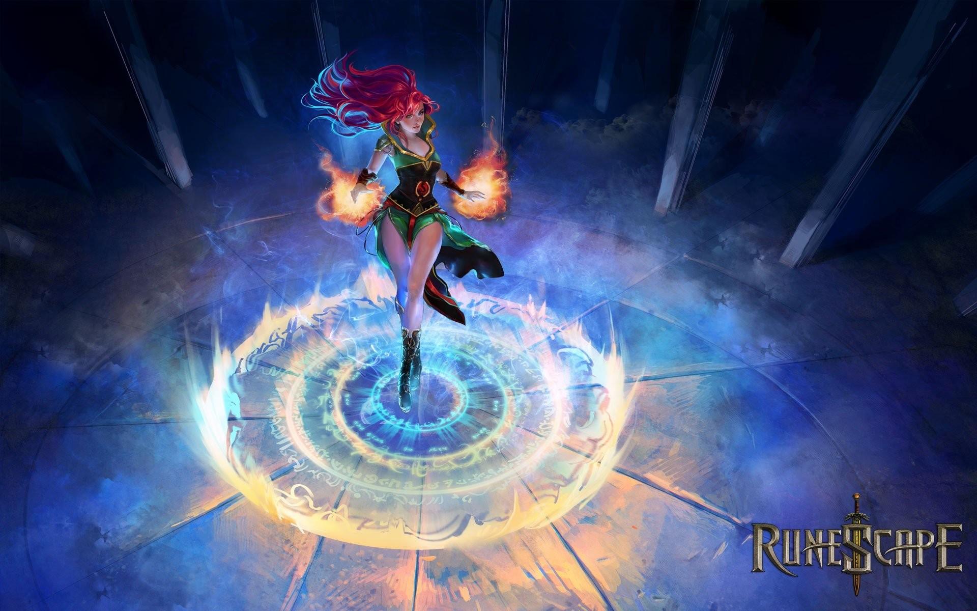 women flames mage video games blue red text fire redheads RPG video magic  MMORPG pillars RuneScape