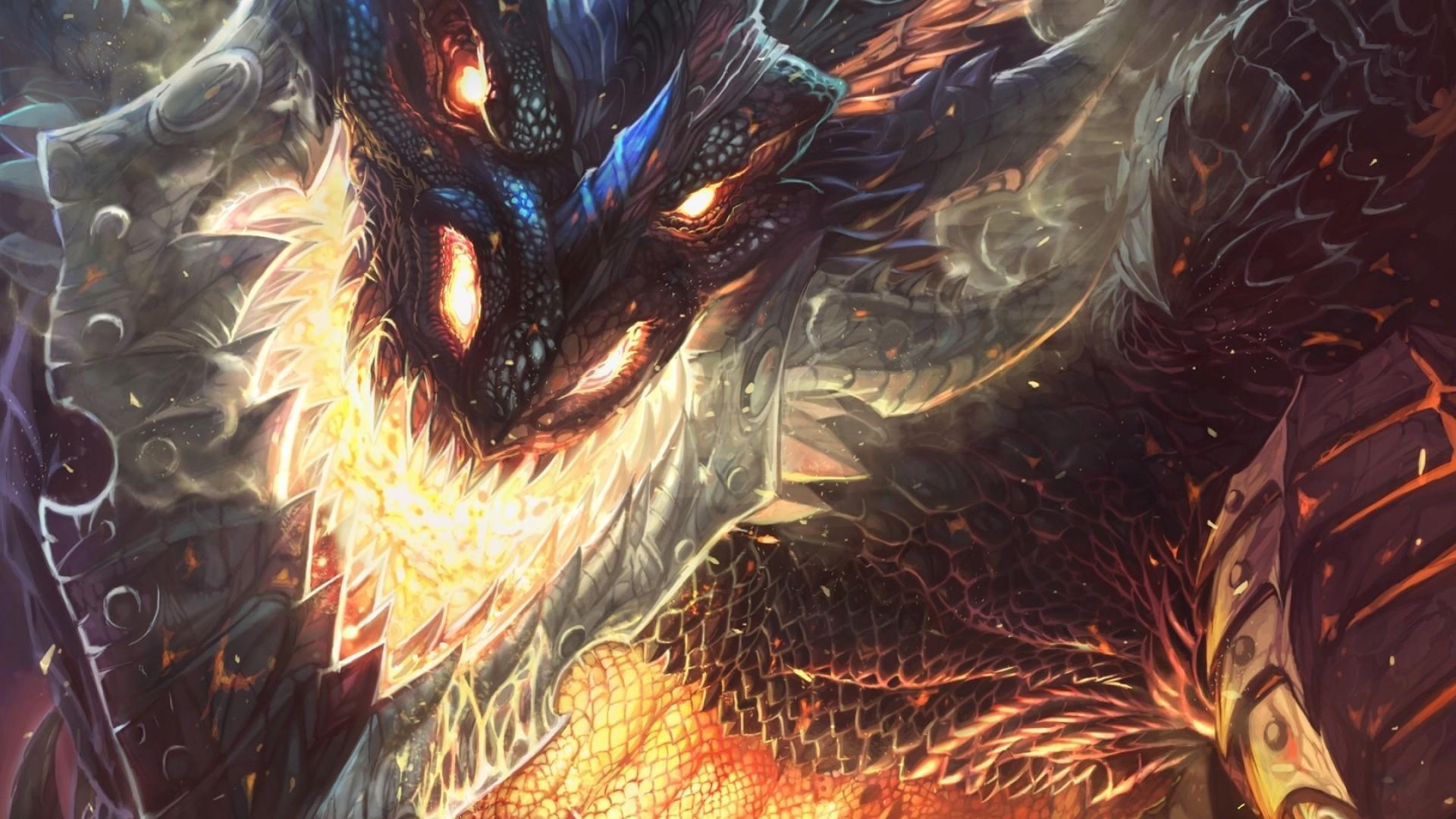 Preview wallpaper world of warcraft, cataclysm, dragon, face, fire 1920×1080