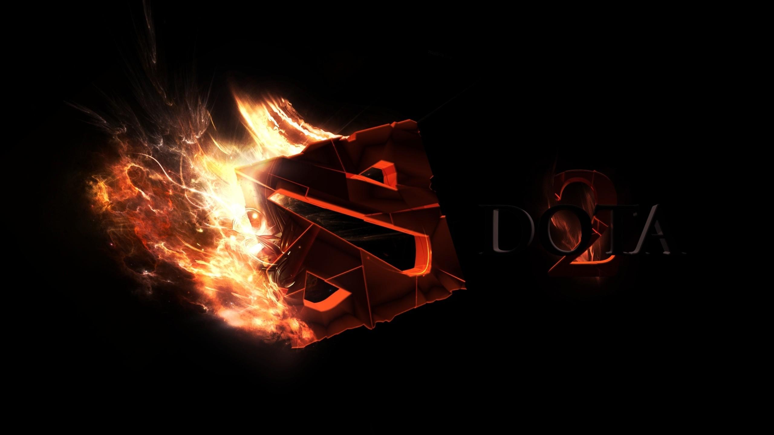 Preview wallpaper dota 2, art, logo, fire 2560×1440
