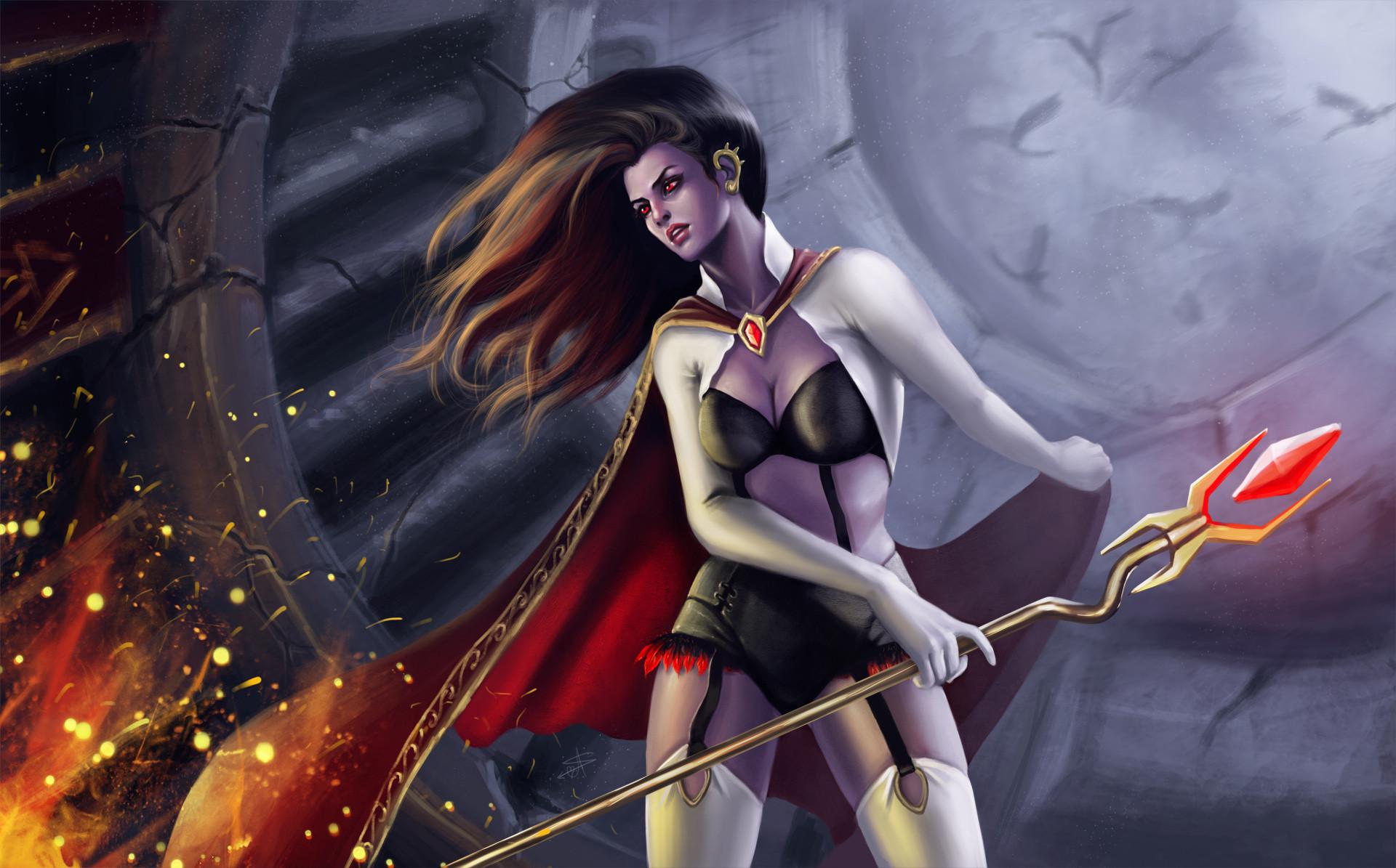 Fantasy – Warrior Fantasy Woman Girl Red Fire Sword Cape Wallpaper