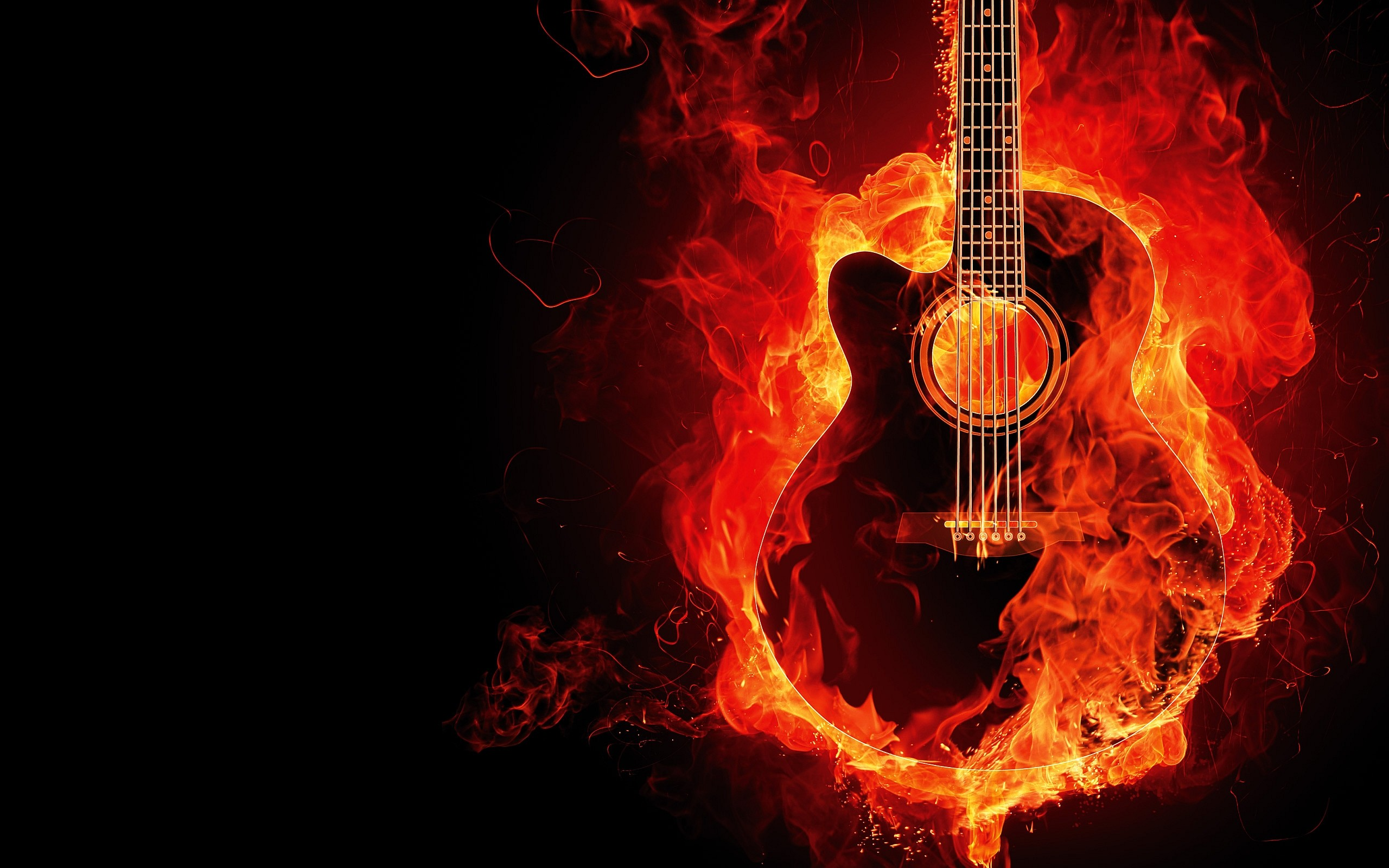 Awesome Guitar Fire Wallpaper HD 2818 Wallpaper with .