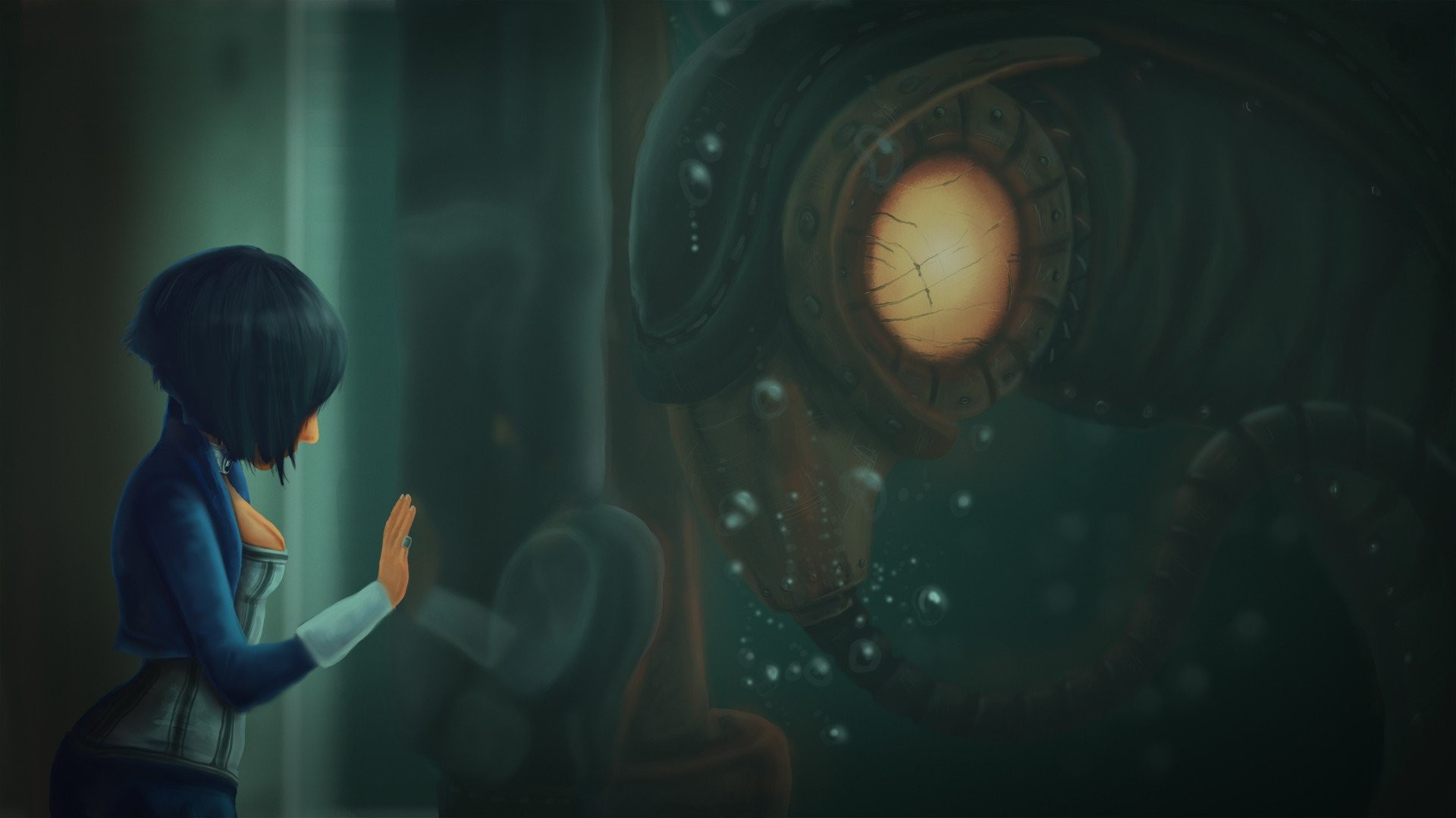 Artwork Video Games BioShock Infinite Elizabeth Songbird Character Sea  Rapture Booker DeWitt