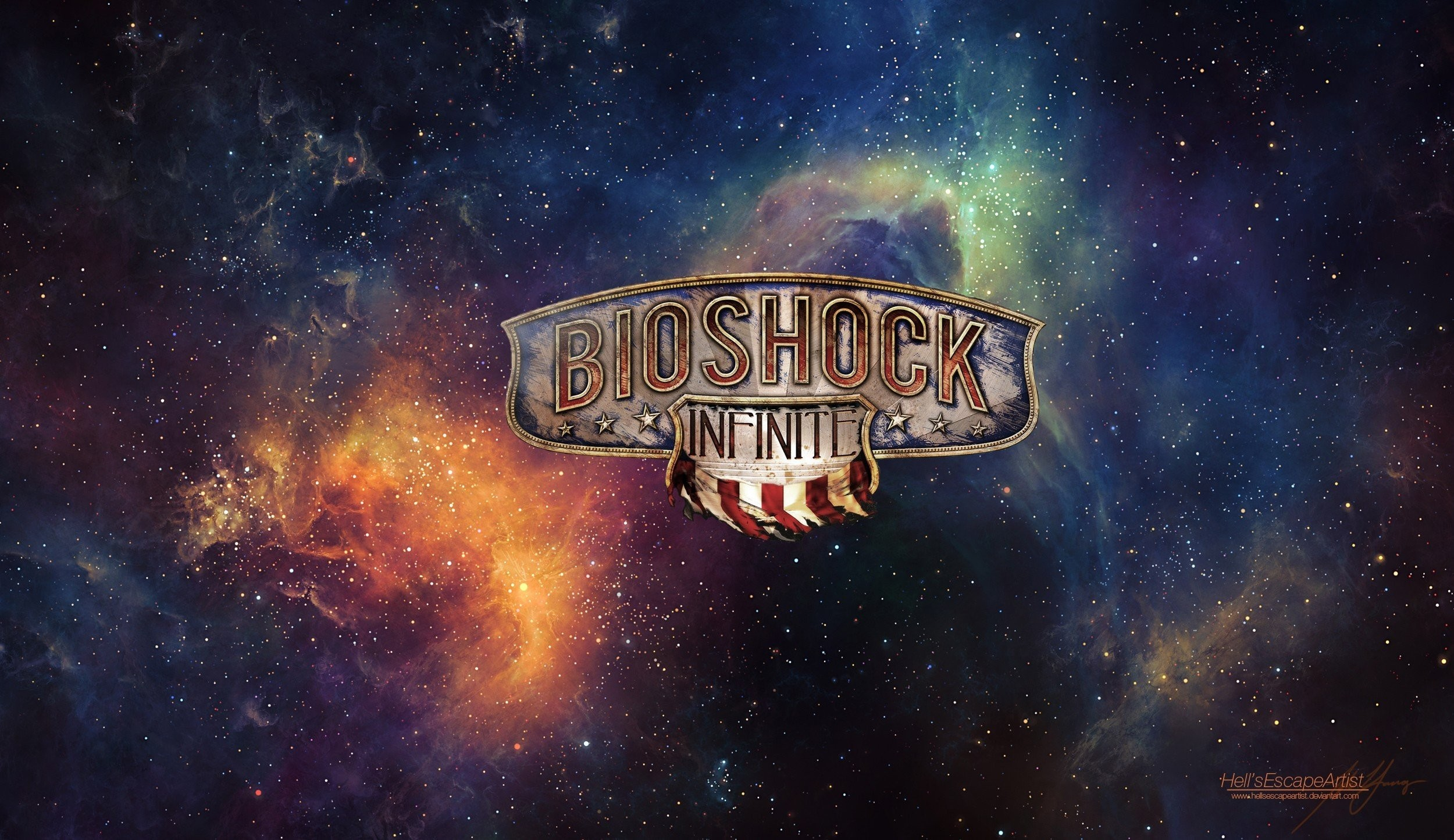 BioShock Infinite Booker DeWitt Space Artwork Video Games Stars Lighthouses  …