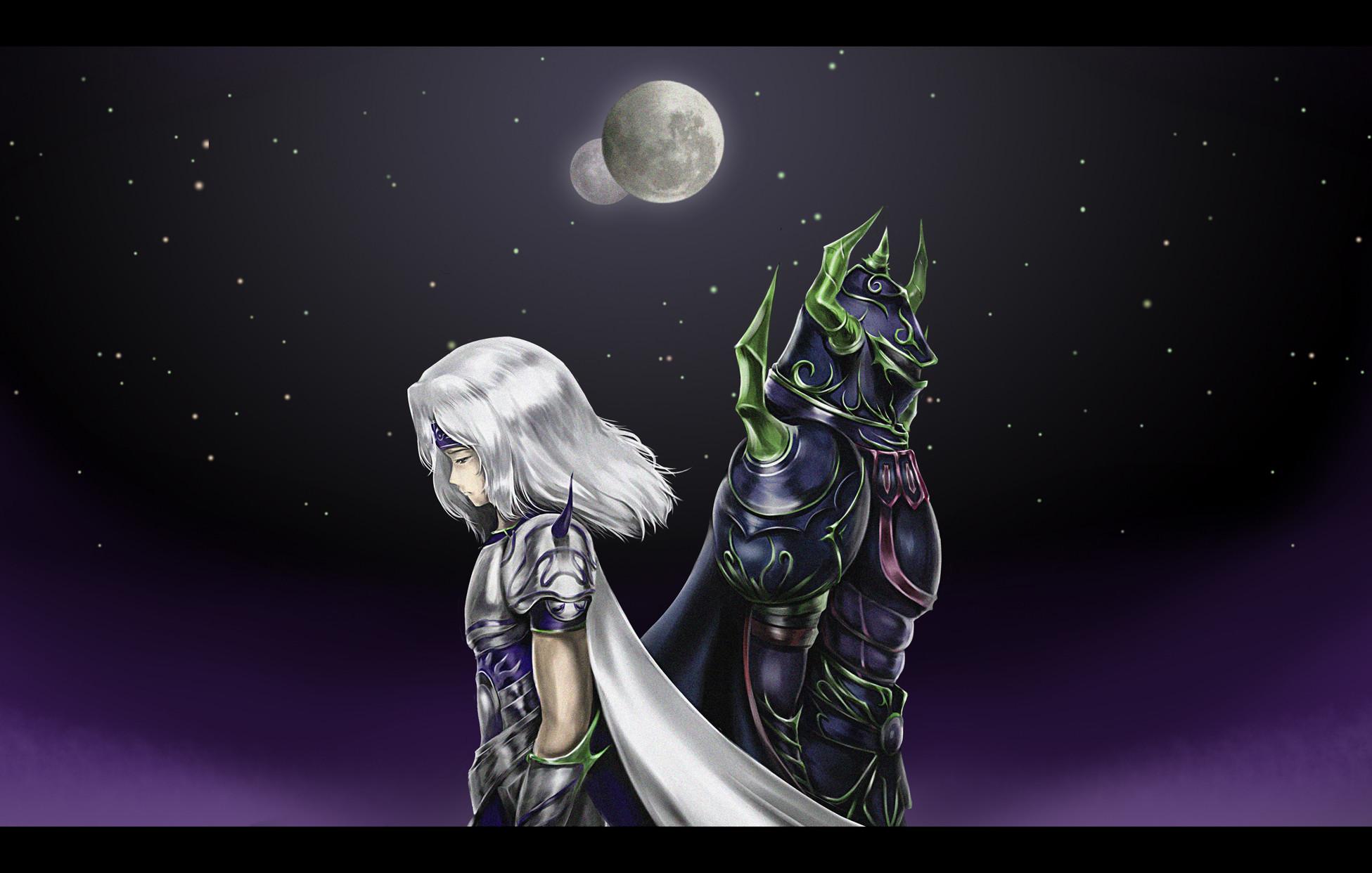 Final Fantasy IV fantasy art girls warrior sky stars moon night wallpaper |  | 35028 | WallpaperUP