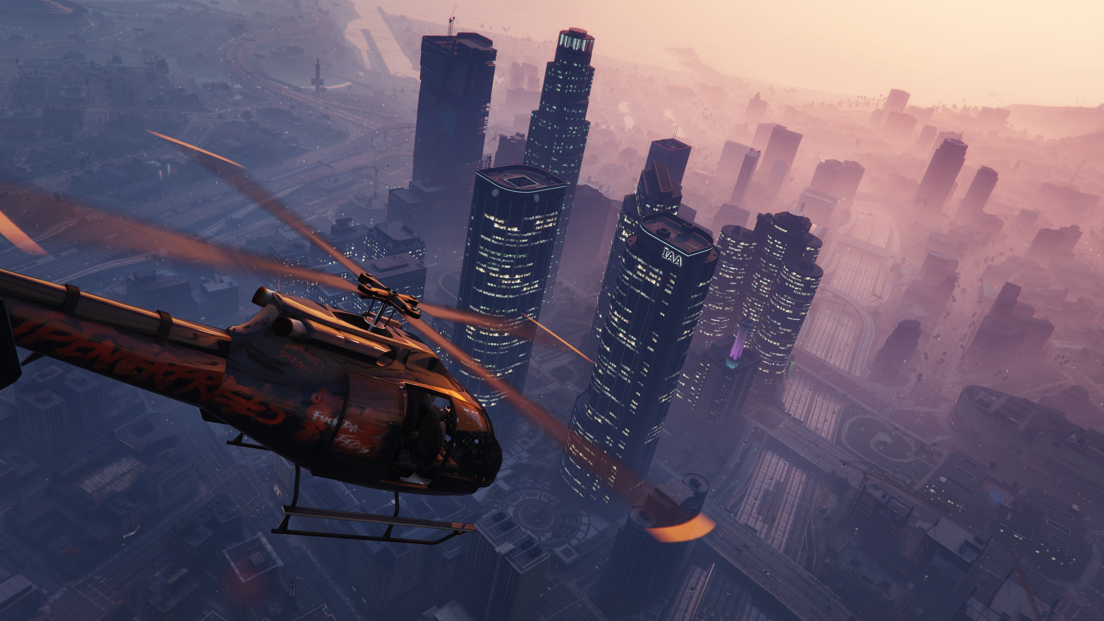 Wallpaper grand theft auto v, gta 5, helicopter, sky, building