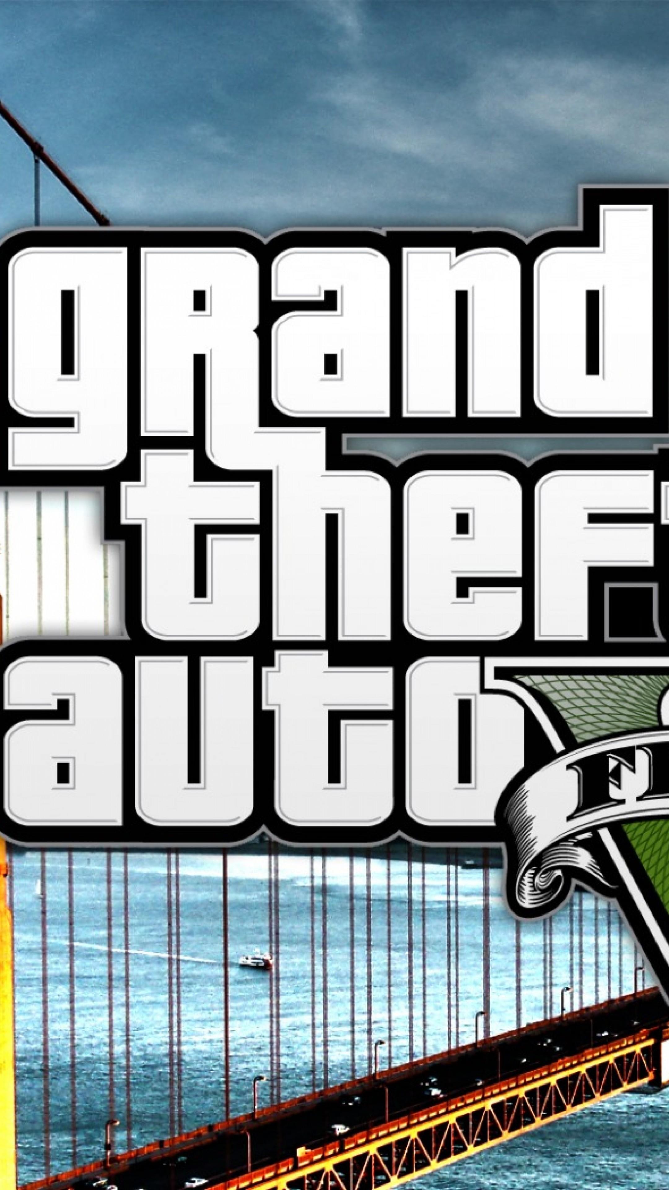 Wallpaper gta v, grand theft auto v, game, bridge, logo