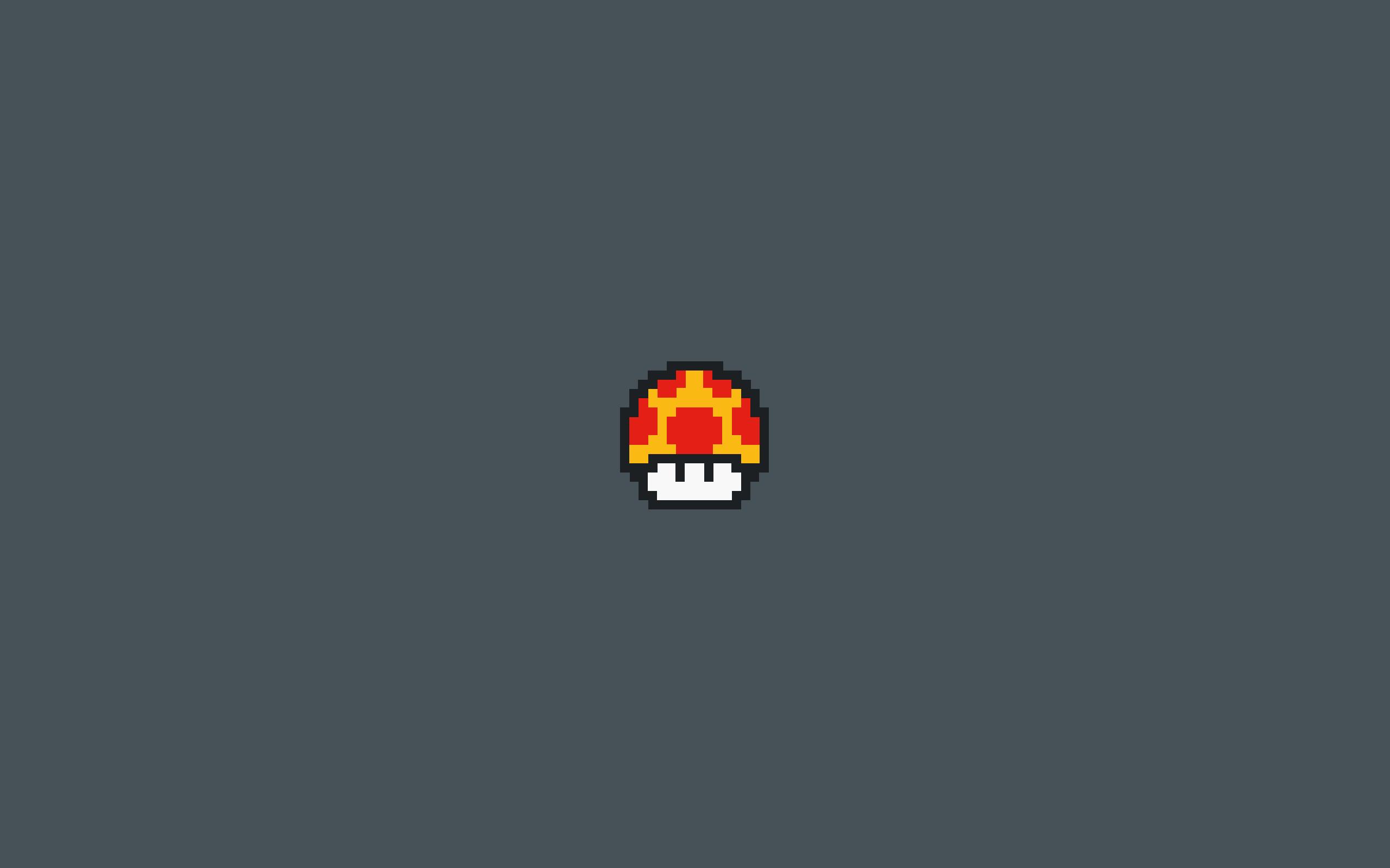 8-Bit Mushroom Desktop Background from Mario.